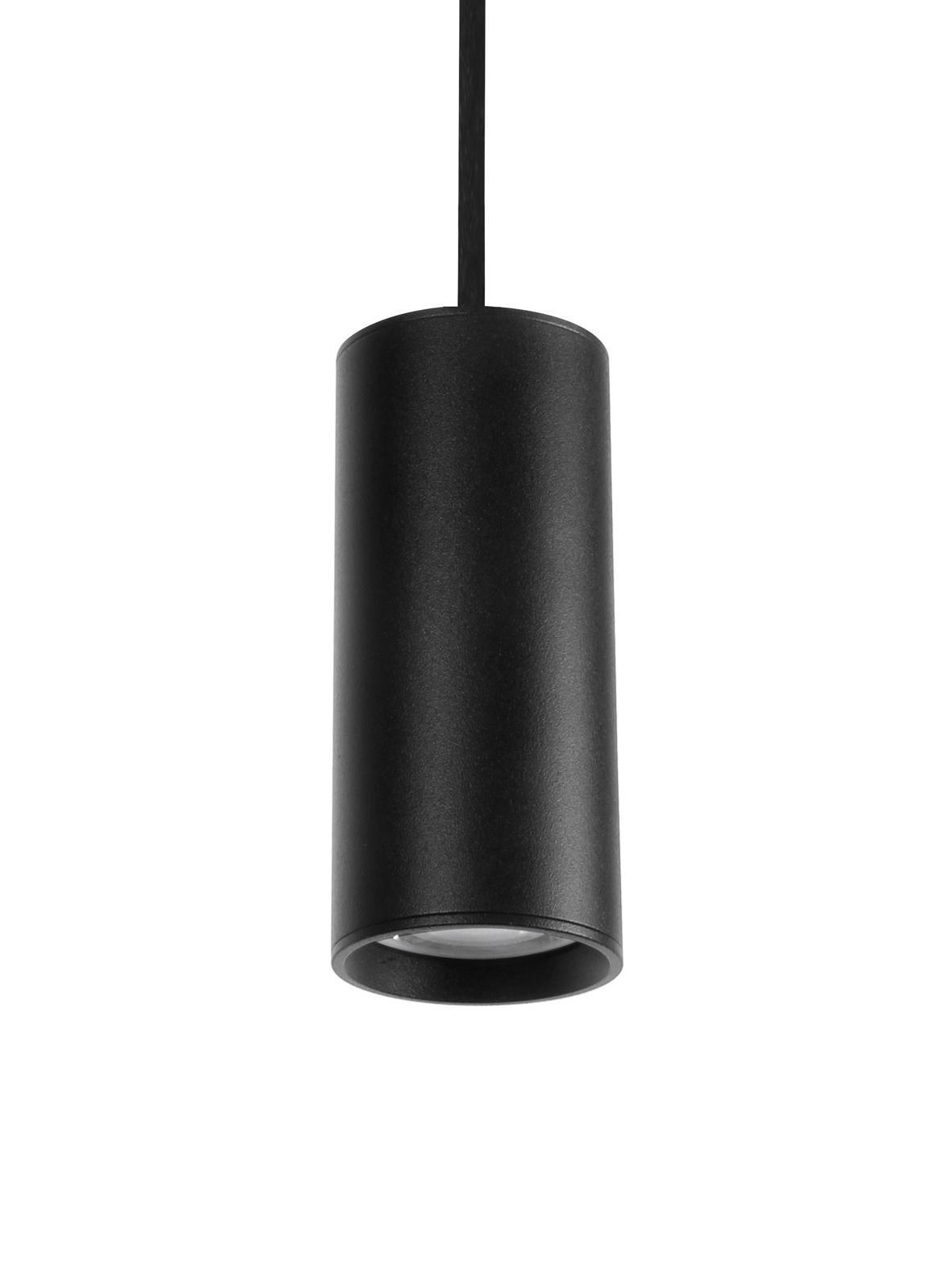 Lámpara de techo pequeña Aila, Pantalla: aluminio recubierto, Anclaje: aluminio recubierto, Cable: cubierto en tela, Negro, Ø 6 x Al 120 cm