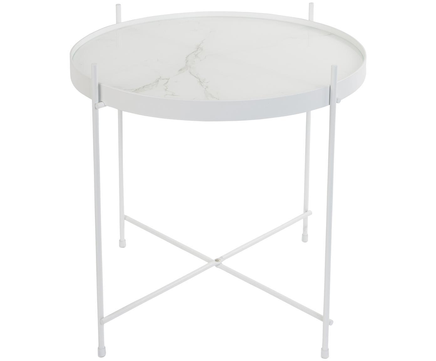 Mesa auxiliar con bandeja de cristal extraíble Cupid, Estructura: hierro, pintura en polvo, Tablero: vidrio laminado con efect, Blanco, Ø 43 x Al 45 cm