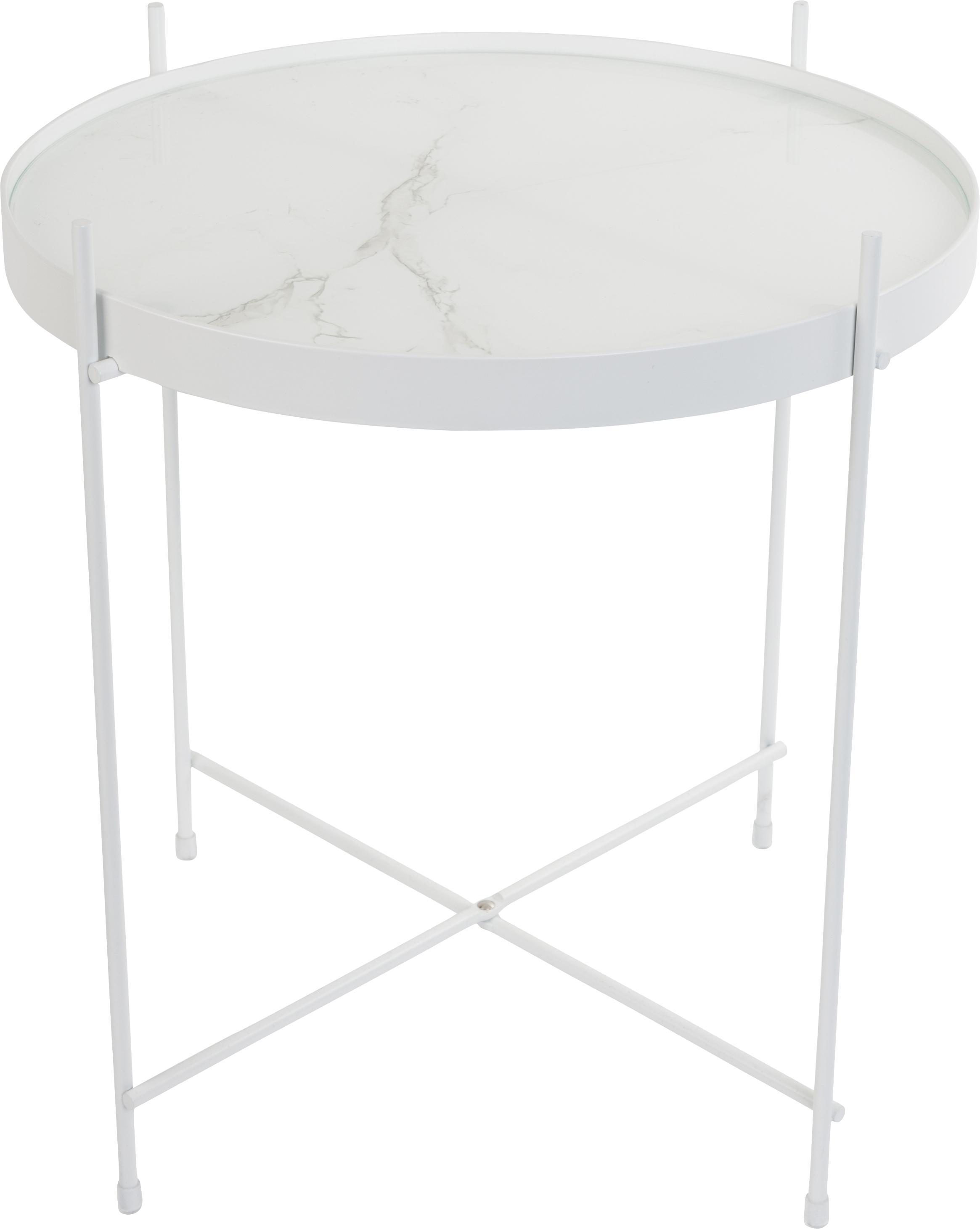Tablett-Tisch Cupid mit Glasplatte, Gestell: Eisen, pulverbeschichtet, Tischplatte: Glasplatte mit Folie in M, Weiss, Ø 43 x H 45 cm