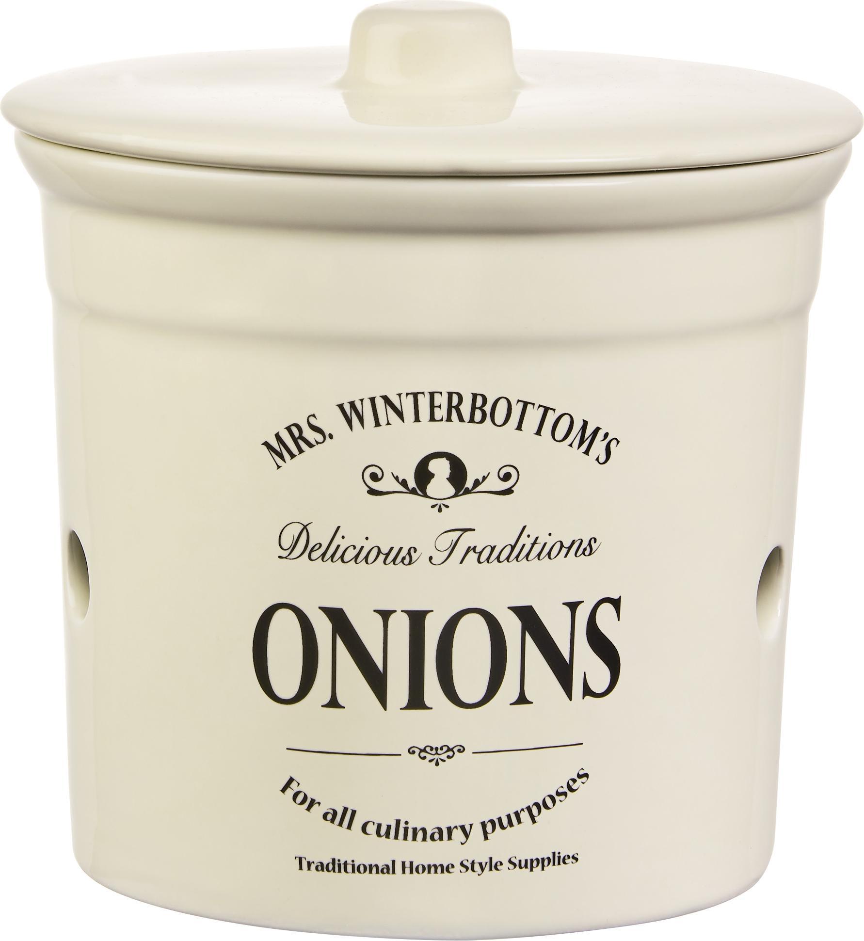 Opbergpot Mrs Winterbottoms Onions, Keramiek, Crèmekleurig, zwart, Ø 17 cm