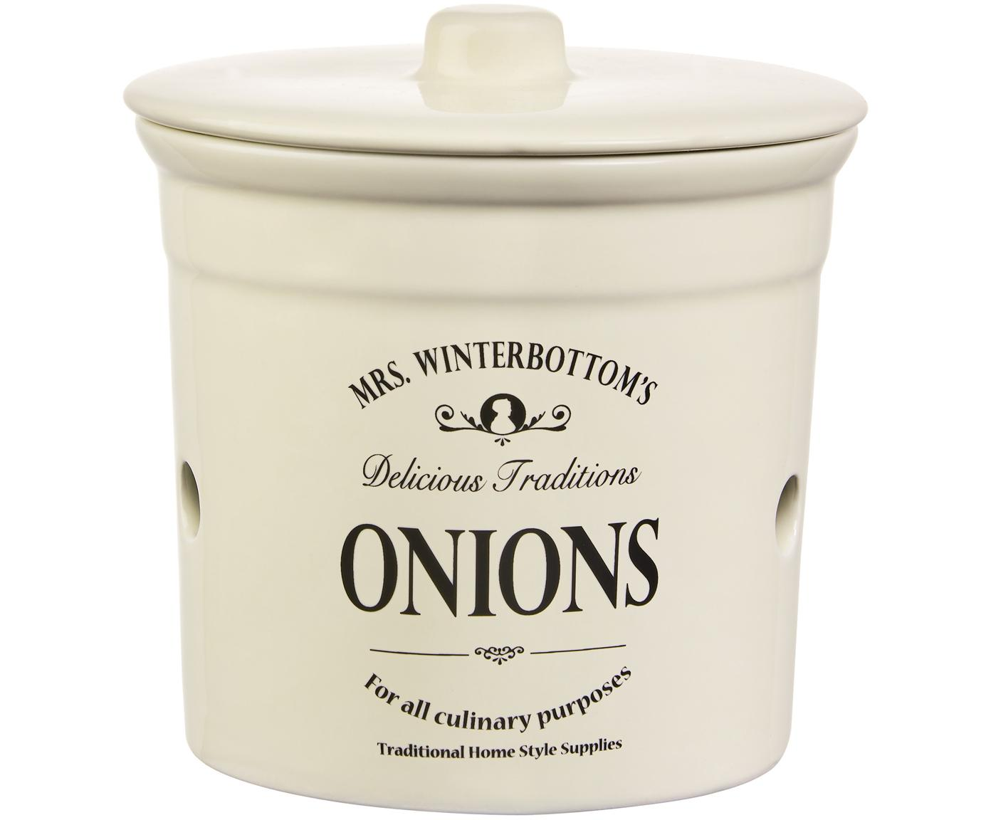Aufbewahrungsdose Mrs Winterbottoms Onions, Steingut, Creme, schwarz, Ø 17 x H 18 cm