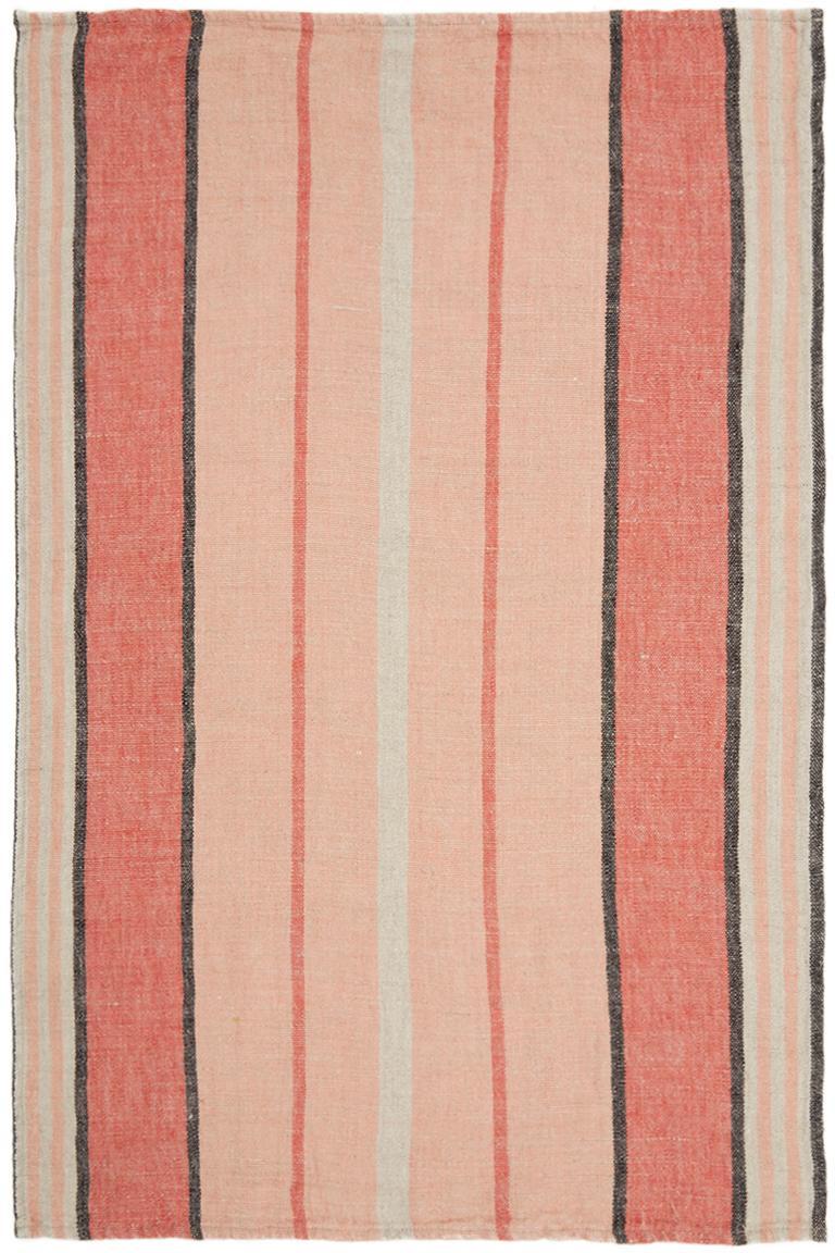 Gestreiftes Leinen-Geschirrtuch Piana, Leinen, Pfirsichfarben, Rot, Weiß, Schwarz, 46 x 70 cm