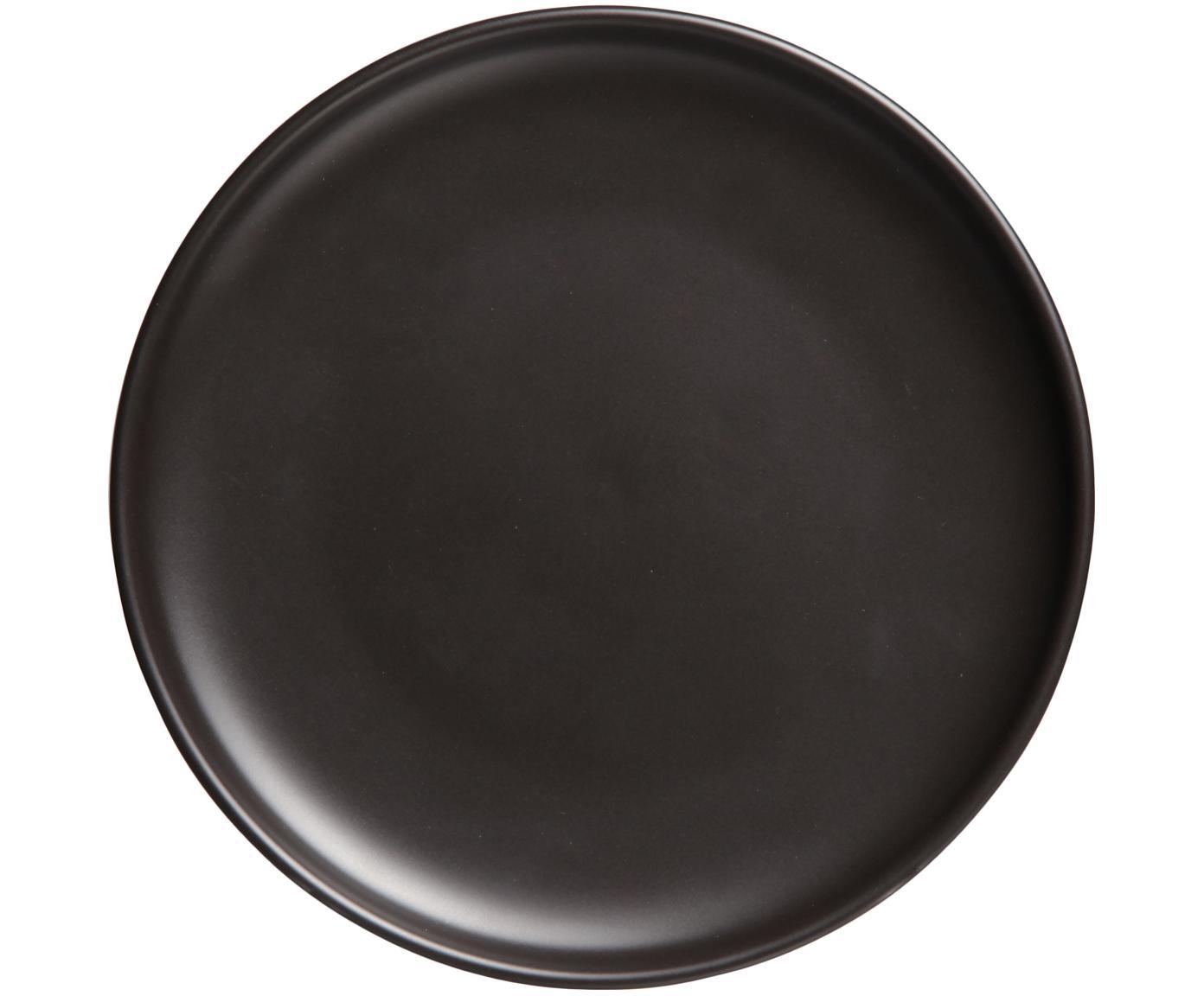 Frühstücksteller Okinawa in Schwarz matt, 6 Stück, Keramik, Schwarz, matt, Ø 20 cm