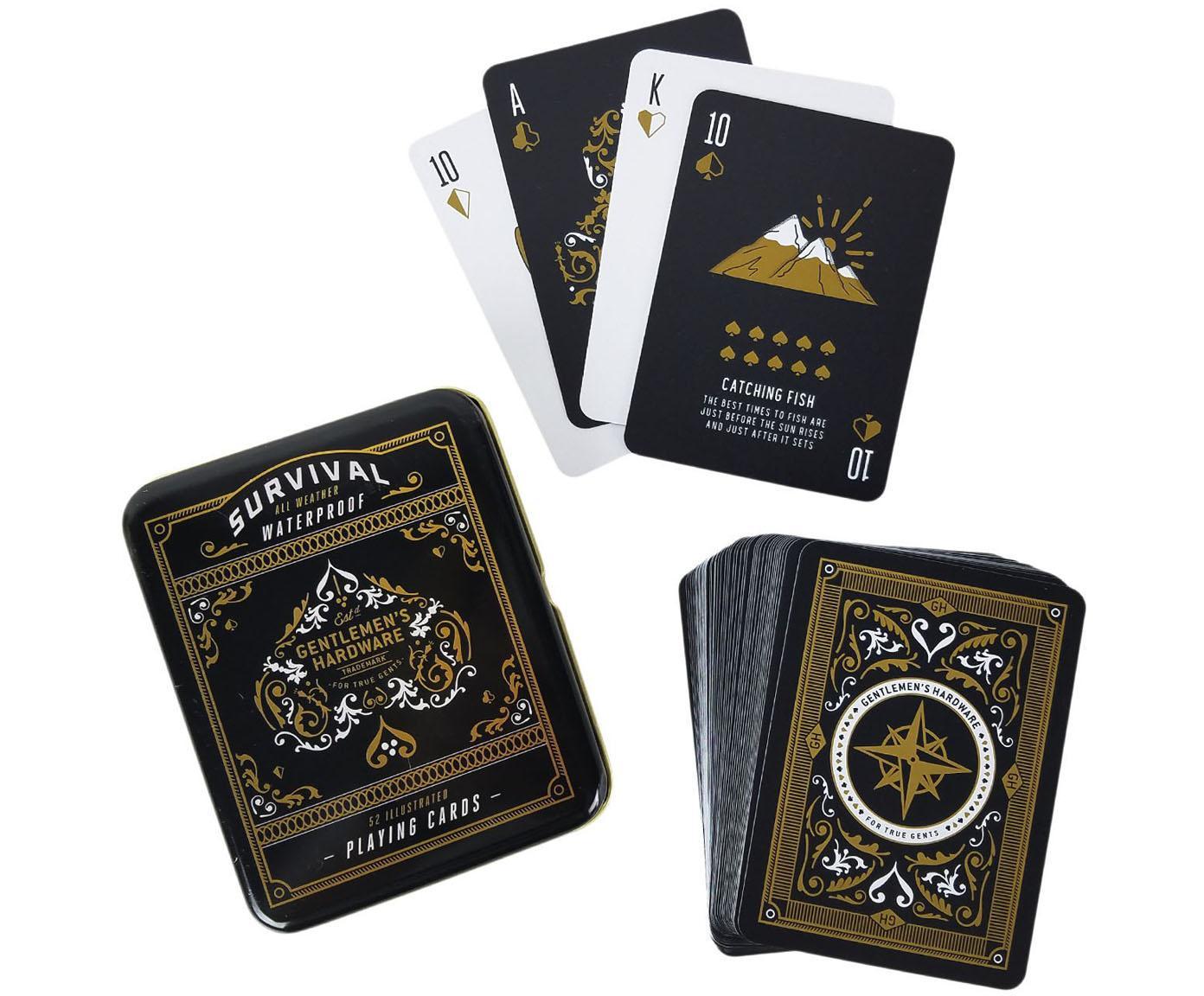 Speelkaartenset Survival, Doos: metaal, Doos: zwart, wit, goudkleurig. Kaarten: zwart, wit, goudkleurig, 11 x 2 cm