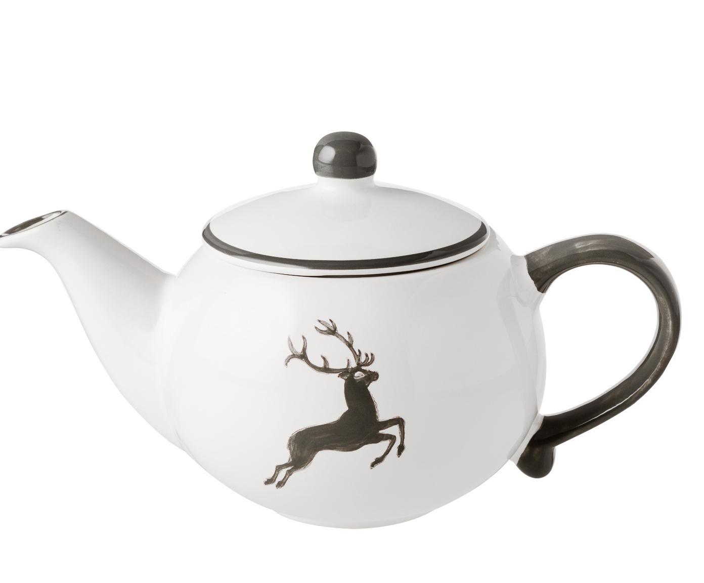 Ręcznie malowany czajnik Classic Grauer Hirsch, Ceramika, Szary, biały, 500 ml