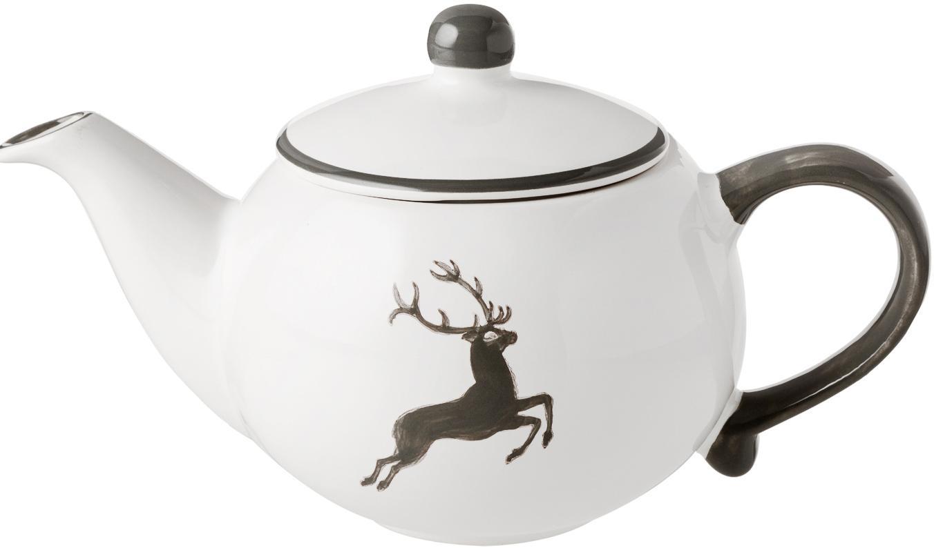 Tetera artesanal Classic Grauer Hirsch, Cerámica, Gris, blanco, 500 ml