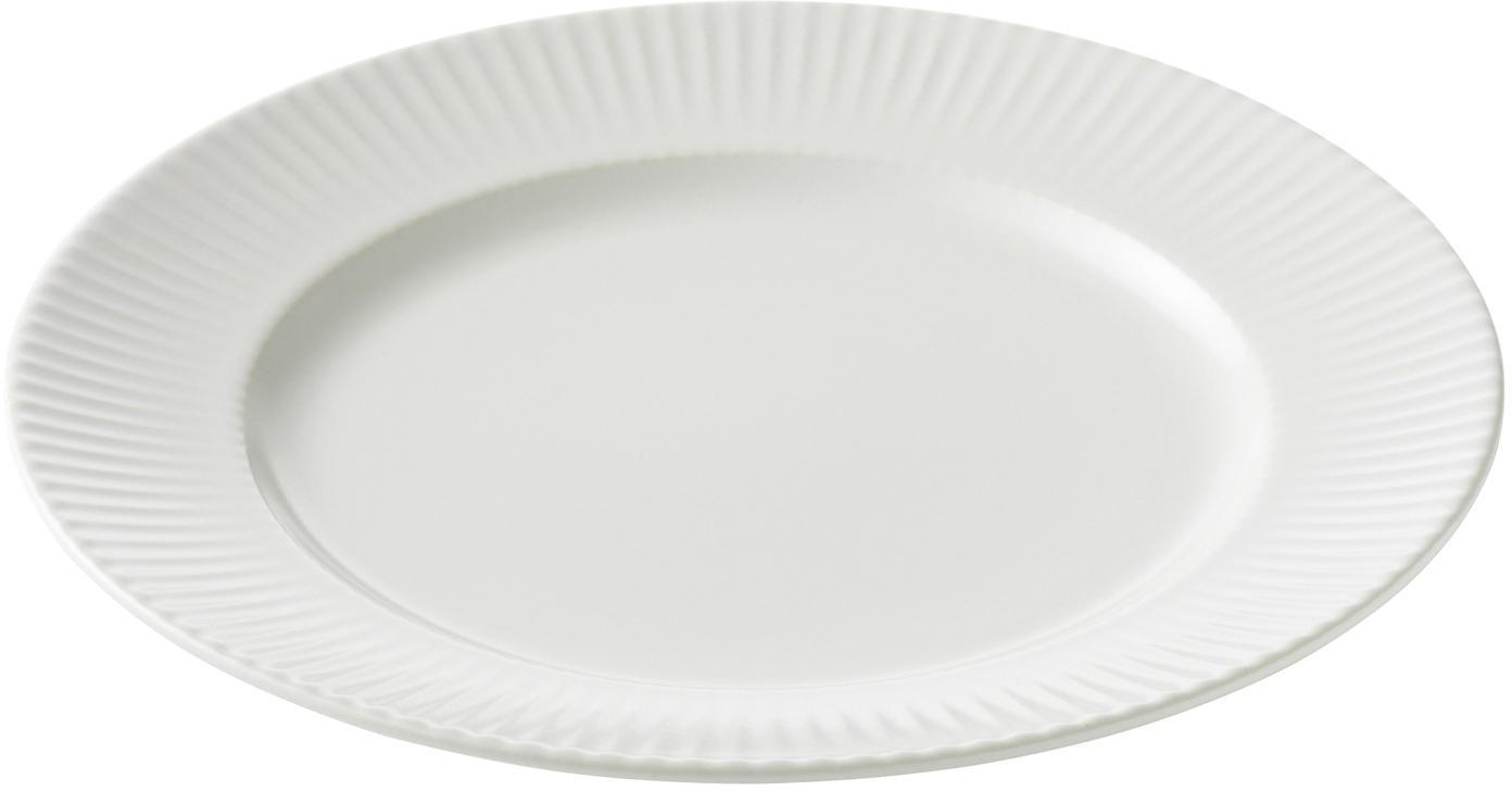 Weiße Frühstücksteller Groove mit Rillenstruktur, 4 Stück, Steingut, Weiß, Ø 21 x H 1 cm