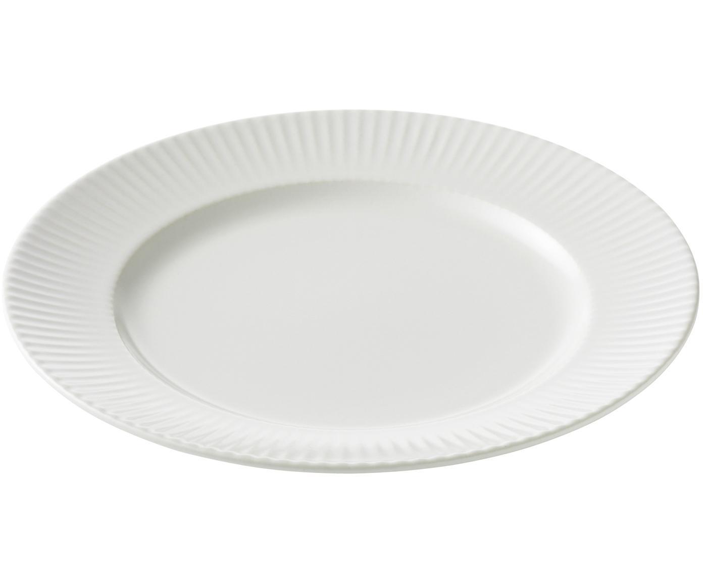 Piatto da colazione Groove 4 pz, Terracotta, Bianco, Ø 21 x Alt. 1 cm