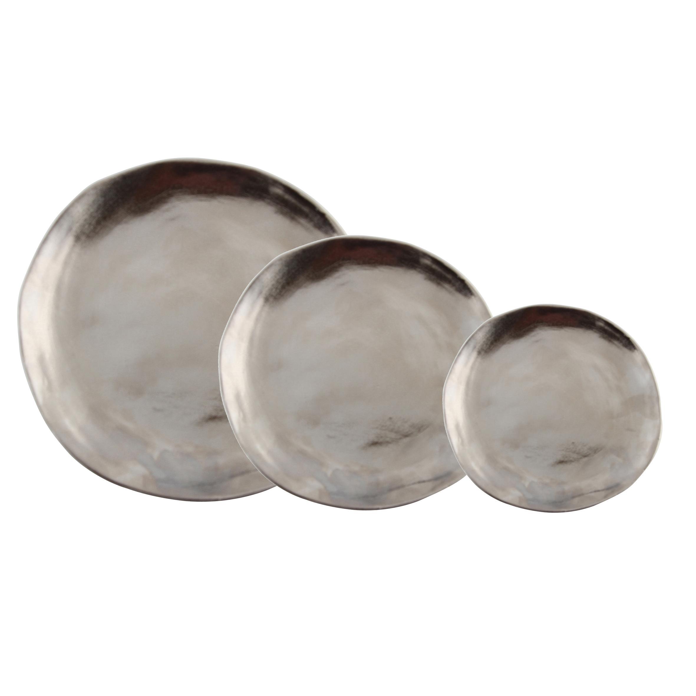 Teller-Set Imperfect in Silber, 3-tlg., Porzellan, beschichtet, Silberfarben, Sondergrößen