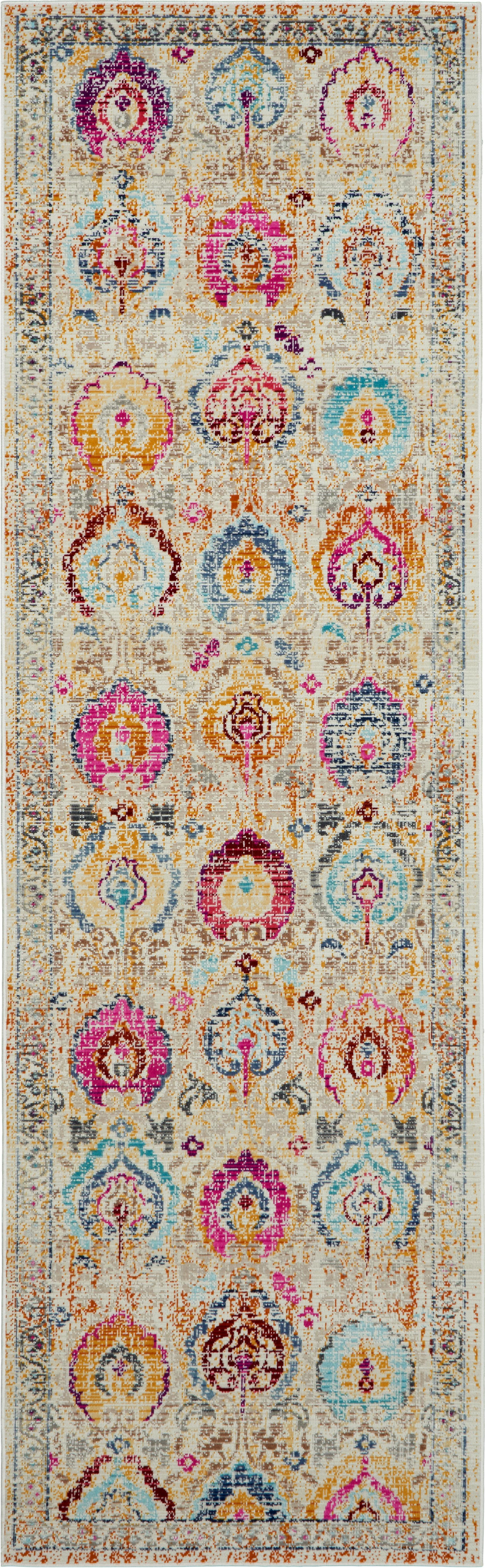 Laagpolige loper Kashan Vintage, Bovenzijde: polypropyleen, Onderzijde: latex, Beige, multicolour, 60 x 180 cm