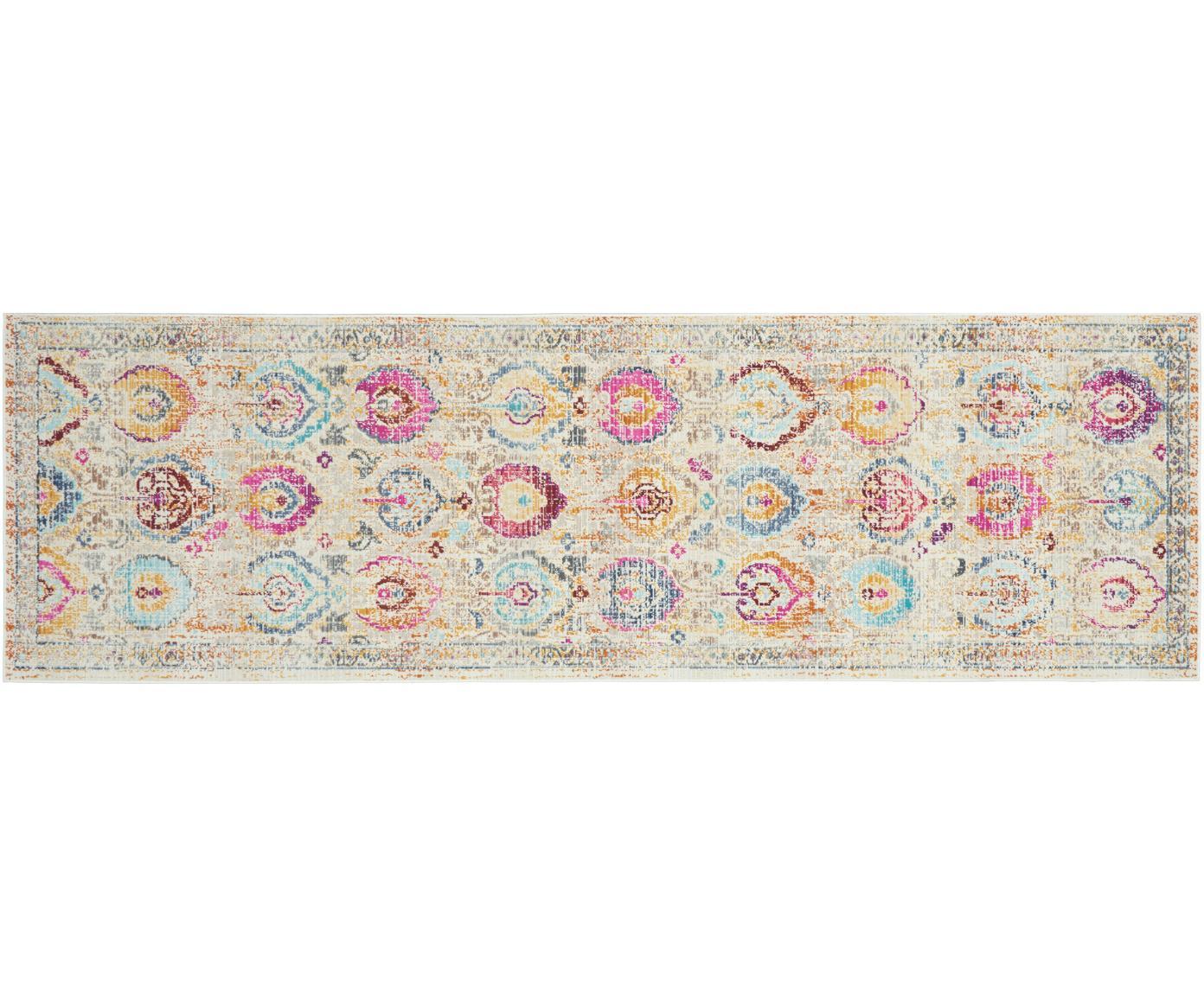 Passatoia a pelo corto Kashan Vintage, Retro: Latex, Beige, multicolore, Larg. 60 x Lung. 175 cm