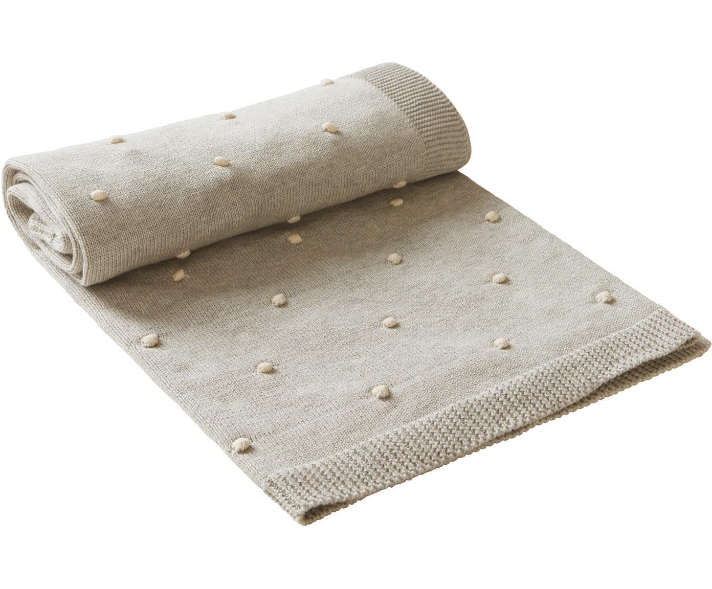 Plaid Alessia, 100% cotone biologico, Beige, Larg. 80 x Lung. 100 cm