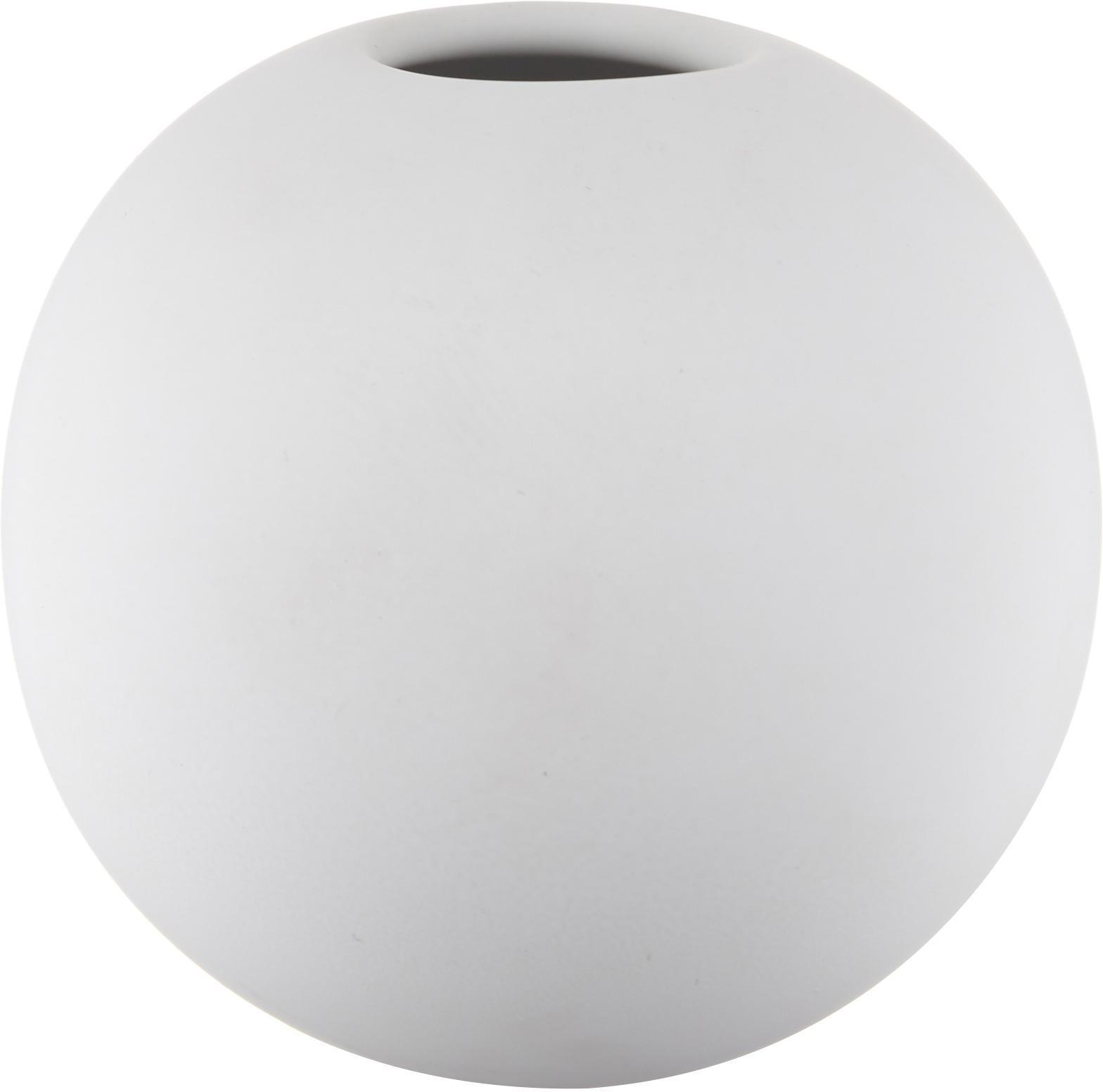 Handgemaakte bolvormige vaas Ball, Keramiek, Wit, Ø 8 x H 8 cm