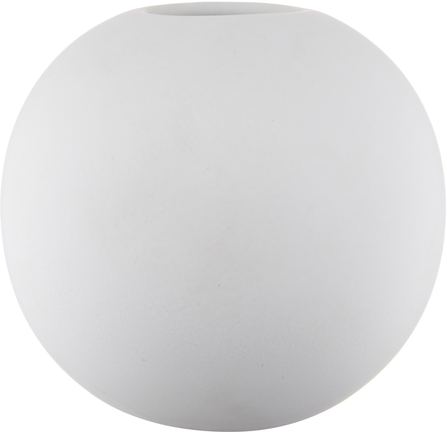 Jarrón artesanal Ball, Cerámica, Blanco, Ø 10 x Al 10 cm
