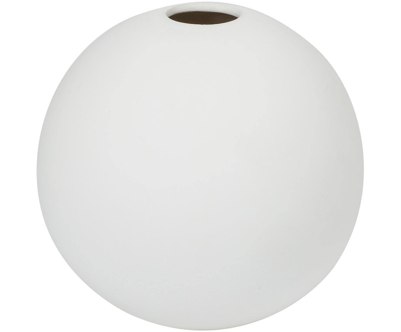 Jarrón artesanal Ball, Cerámica, Blanco, Ø 8 x Al 8 cm