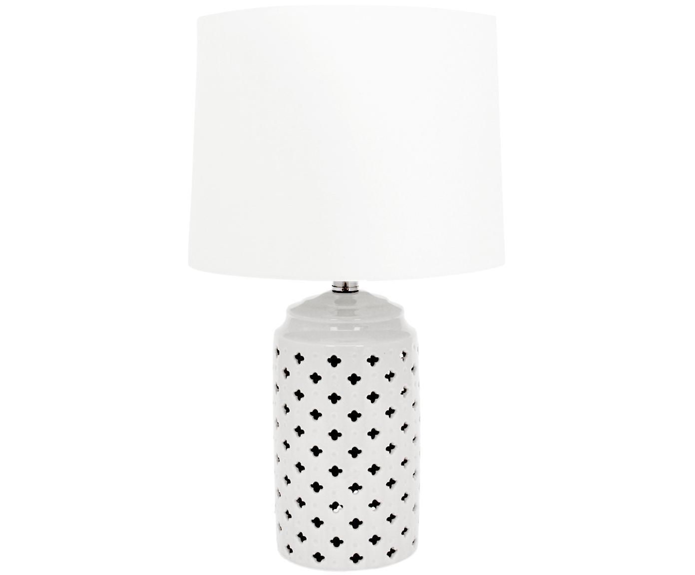 Keramik-Tischlampe Naomi, Lampenschirm: Textil, Weiss, Ø 28 x H 52 cm