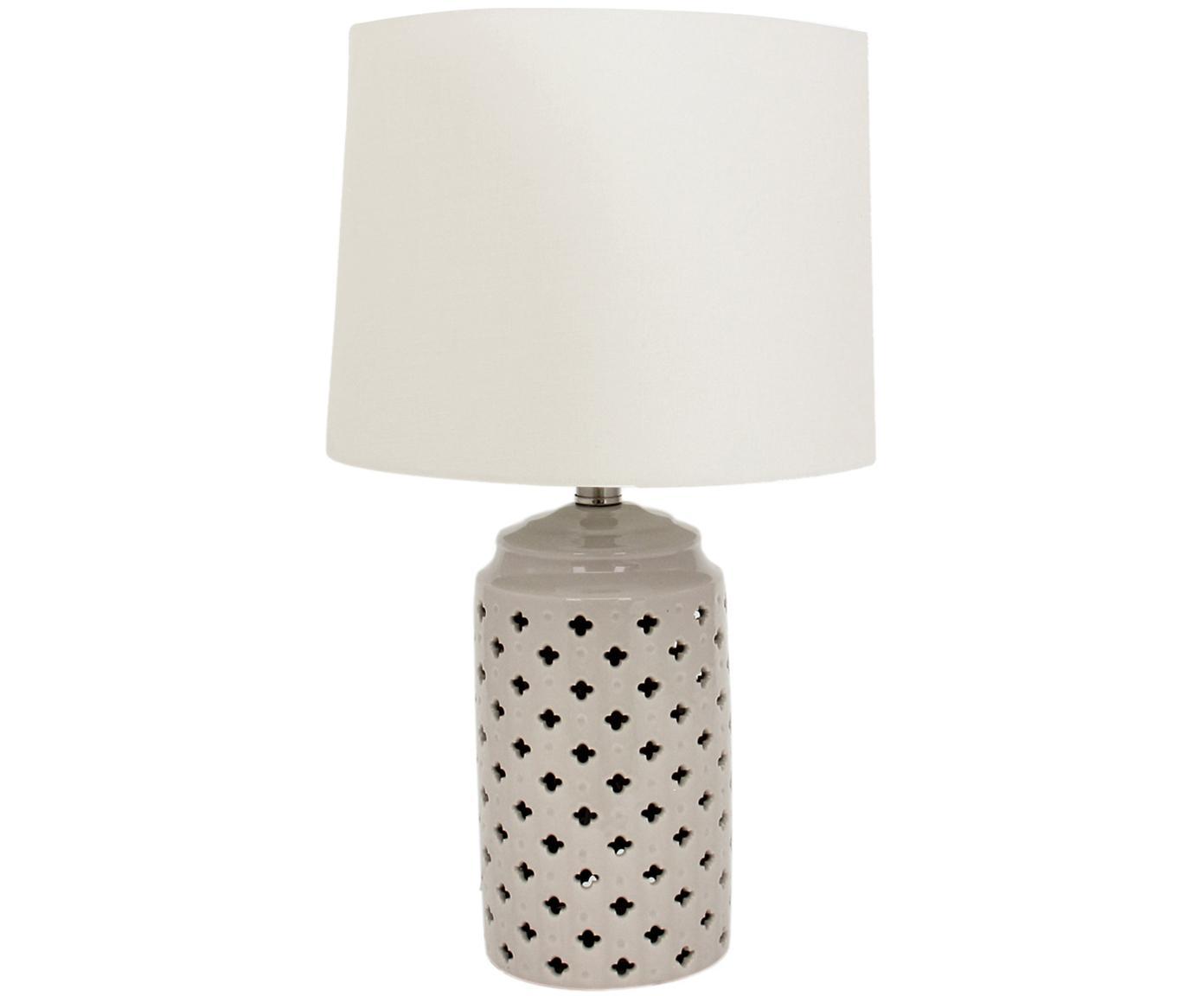 Keramische tafellamp Naomi, Lampenkap: textiel, Lampvoet: keramiek, Wit, taupe, Ø 28 cm