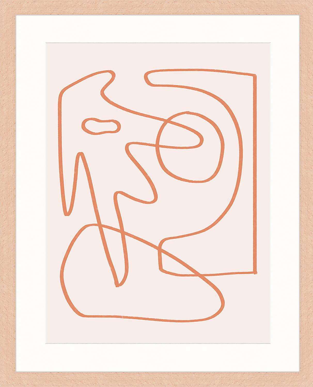 Oprawiony druk cyfrowy Abstract Organic Drawing, Blady różowy, pomarańczowy, S 43 x W 53 cm