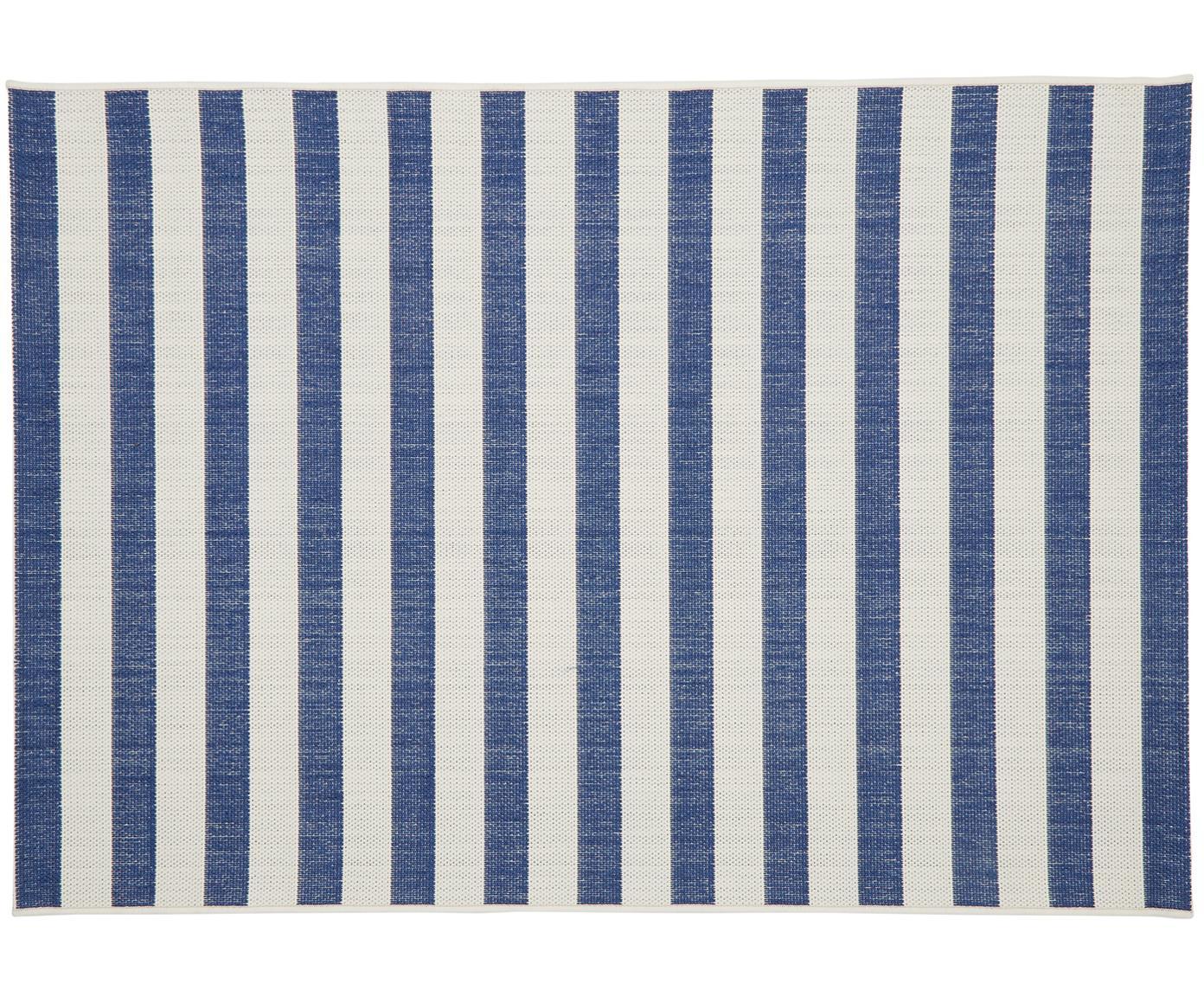 Gestreept in- & outdoor vloerkleed Axa in blauw/wit, Bovenzijde: polypropyleen, Onderzijde: polyester, Crèmewit, blauw, B 200 x L 290 cm (maat L)
