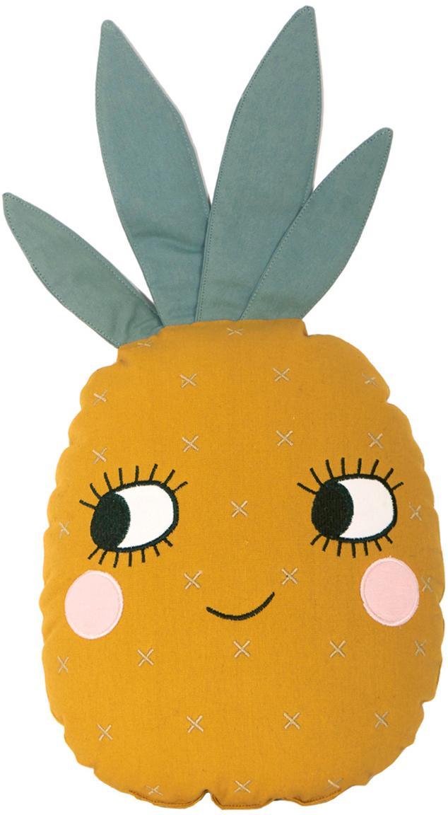 Cojín de algodón ecológico Pineapple, con relleno, Funda: algodón ecológico, Amarillo, An 32 x L 61 cm