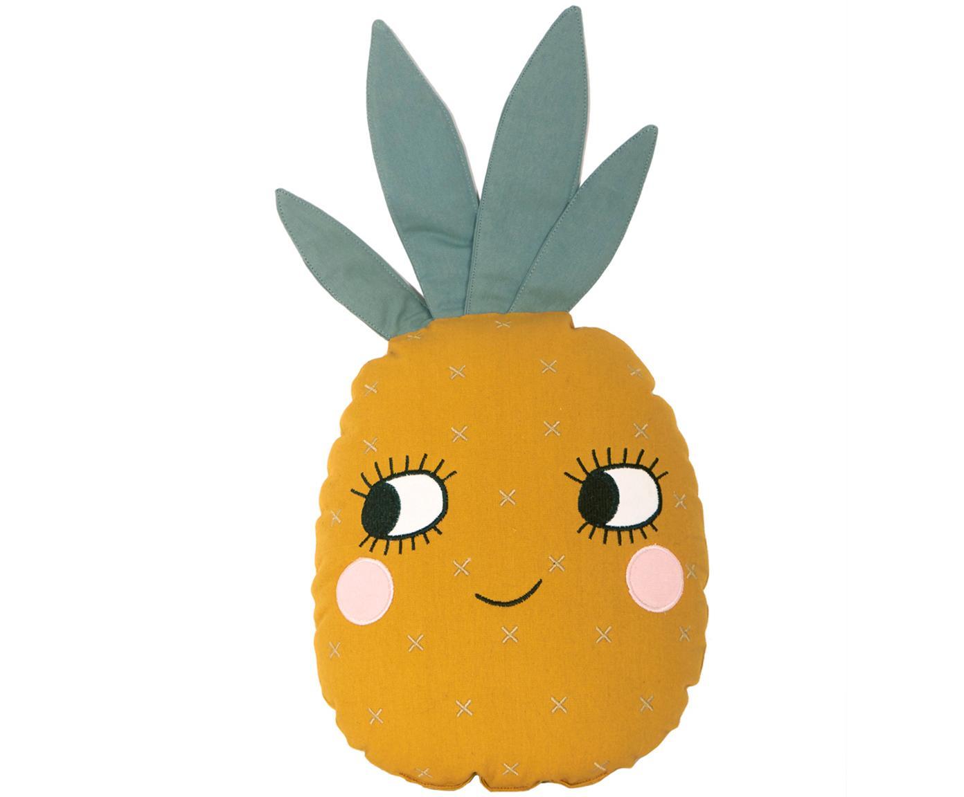 Kissen Pineapple aus Bio-Baumwolle, mit Inlett, Bezug: Bio-Baumwolle, OCS-zertif, Gelb, 32 x 61 cm