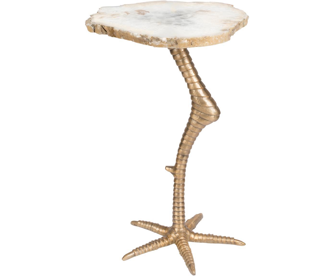 Stolik pomocniczy z agatu Beauty And The Bird, Blat: agat, Odcienie złotego, S 30 x W 46 cm