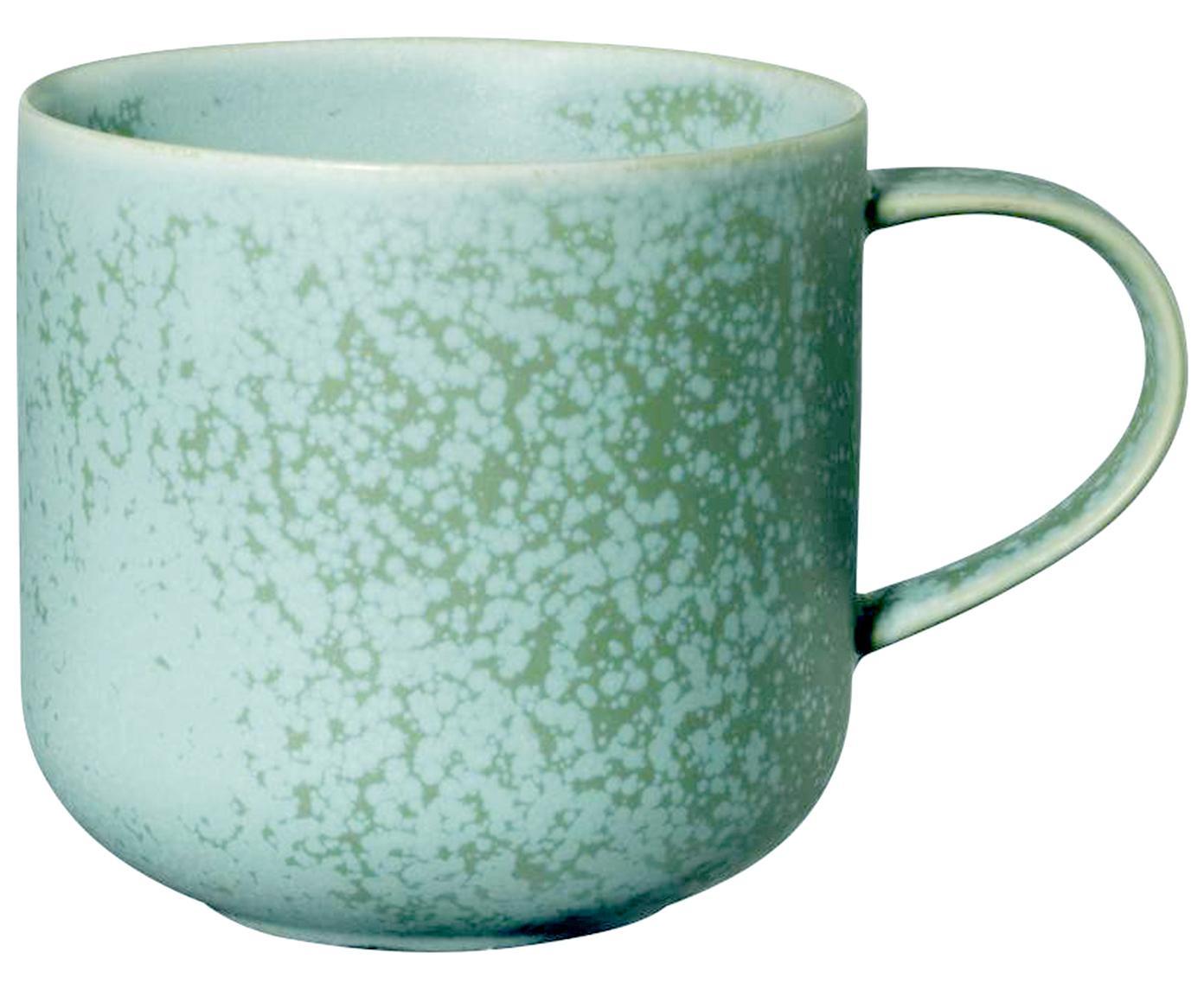 Handgefertigte Tassen Coppa in Mintgrün und braun gesprenkelt, 2 Stück, Porzellan, Mintgrüntöne, 400 ml