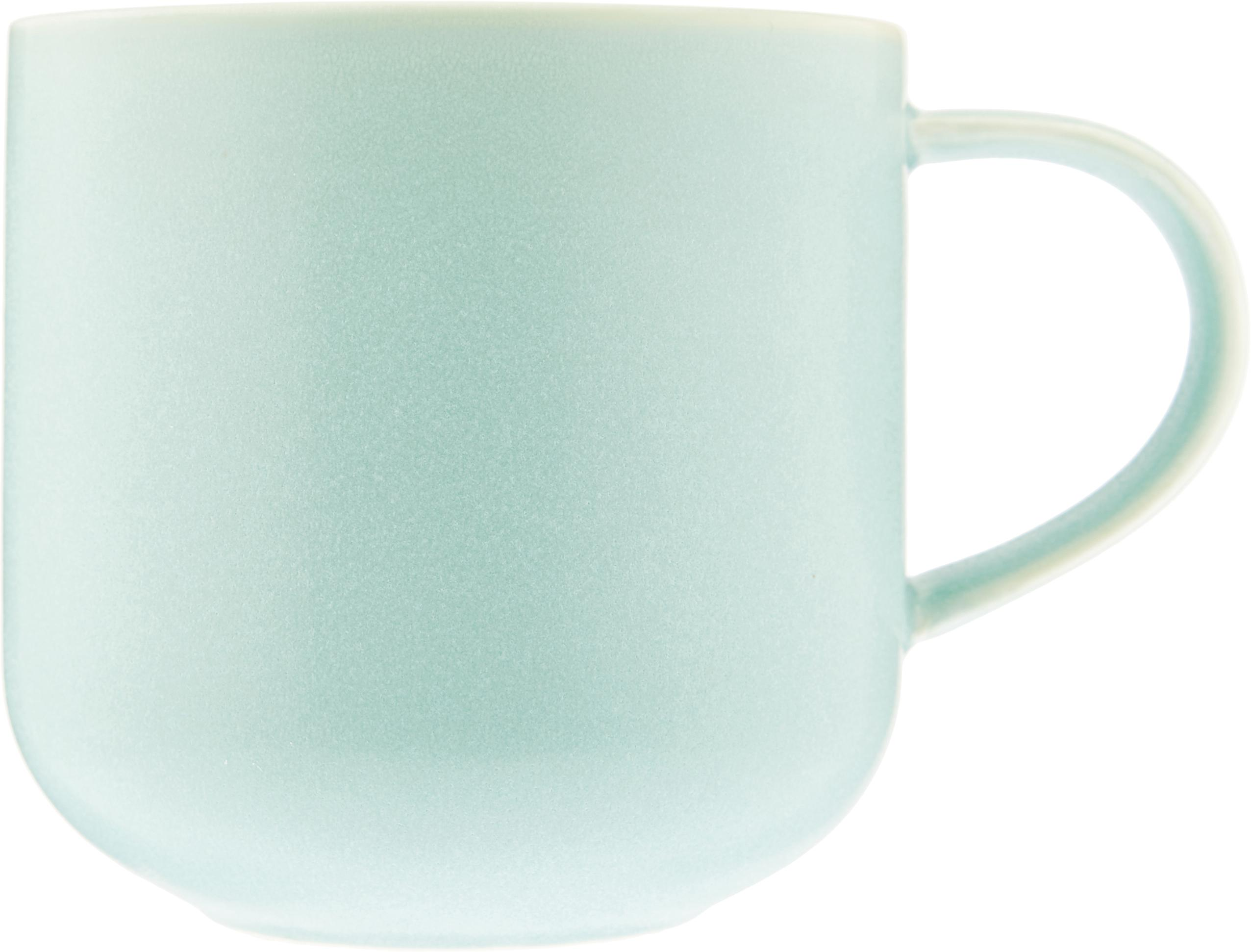 Ręcznie wykonany kubek Coppa, 2 szt., Porcelana, Zielony miętowy, 400 ml