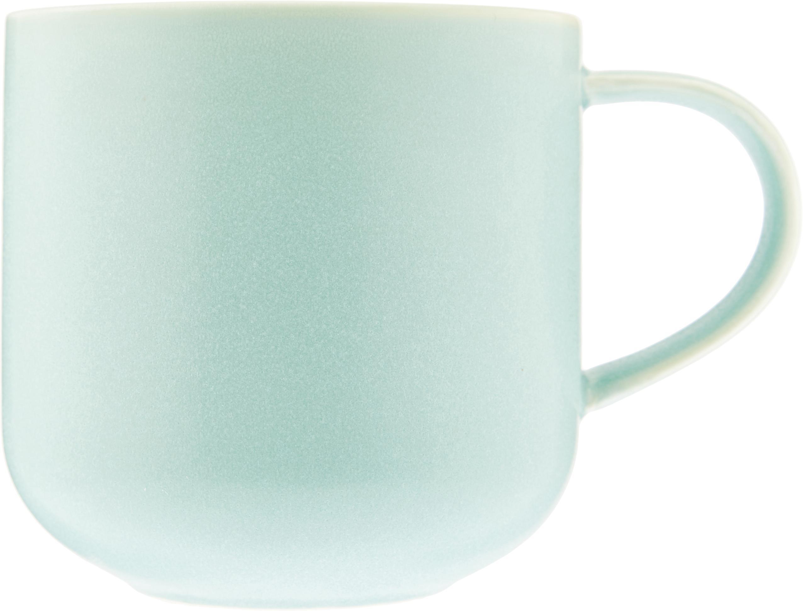 Tazza Coppa 2 pz, Porcellana, Verde menta, legno, 400 ml