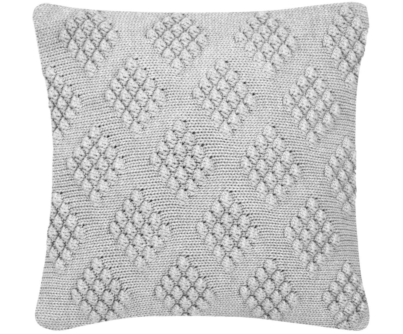 Funda de cojín de punto Kelly, 100%algodón, Gris claro, An 40 x L 40 cm