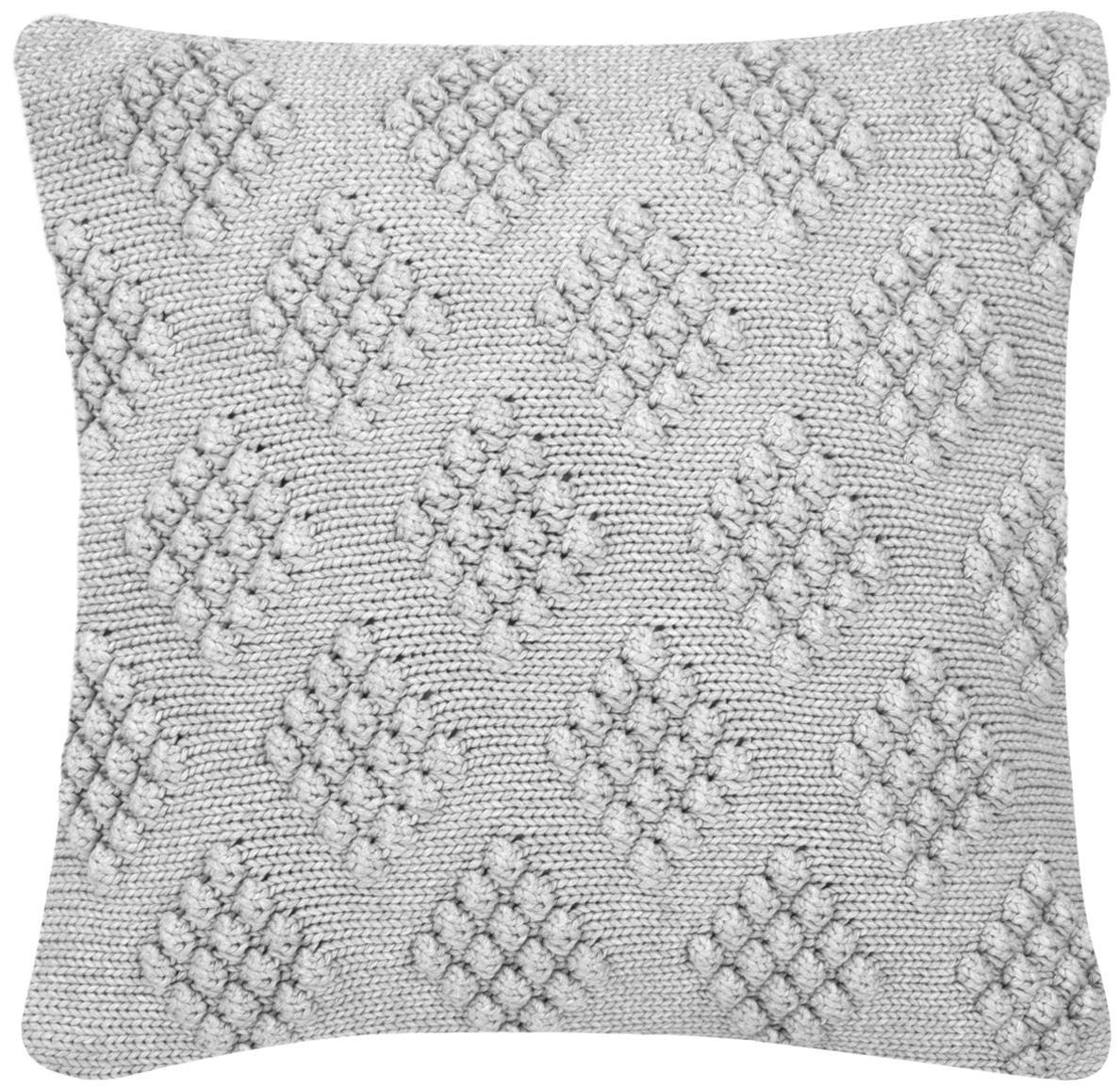 Federa arredo fatta a maglia Kelly, 100% cotone, Grigio chiaro, Larg. 40 x Lung. 40 cm