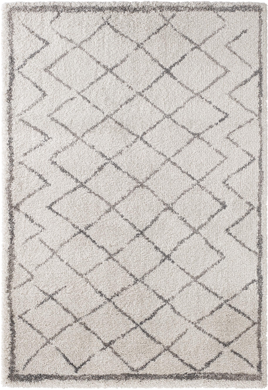 Hochflor-Teppich Grace Diamond mit Rautenmuster, Grau/Creme, Flor: 100% Polypropylen, Creme, Grau, B 200 x L 290 cm (Größe L)