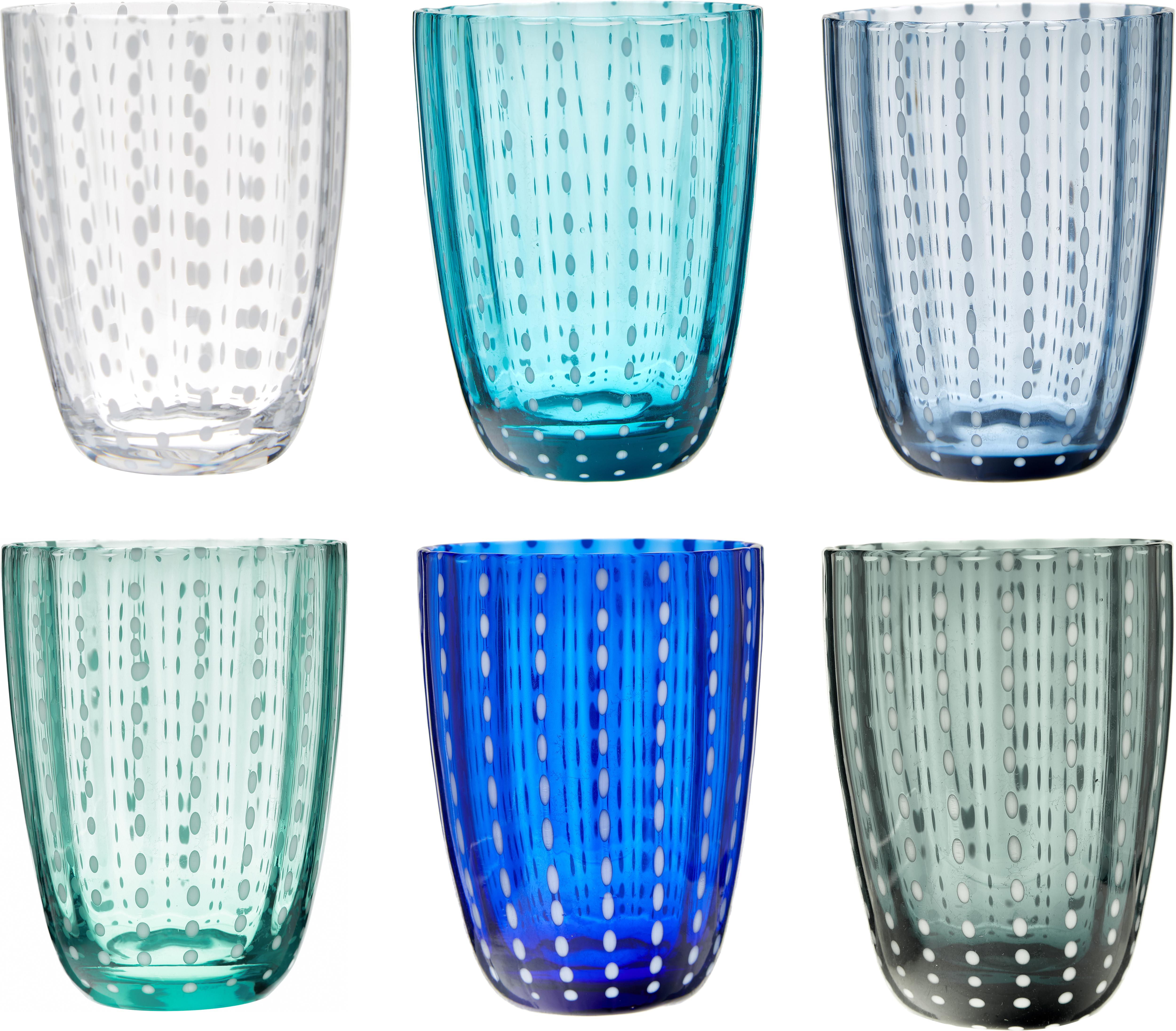 Bicchiere acqua Kalahari, set di 6, Vetro, Multicolore, Ø 9 x Alt. 11 cm