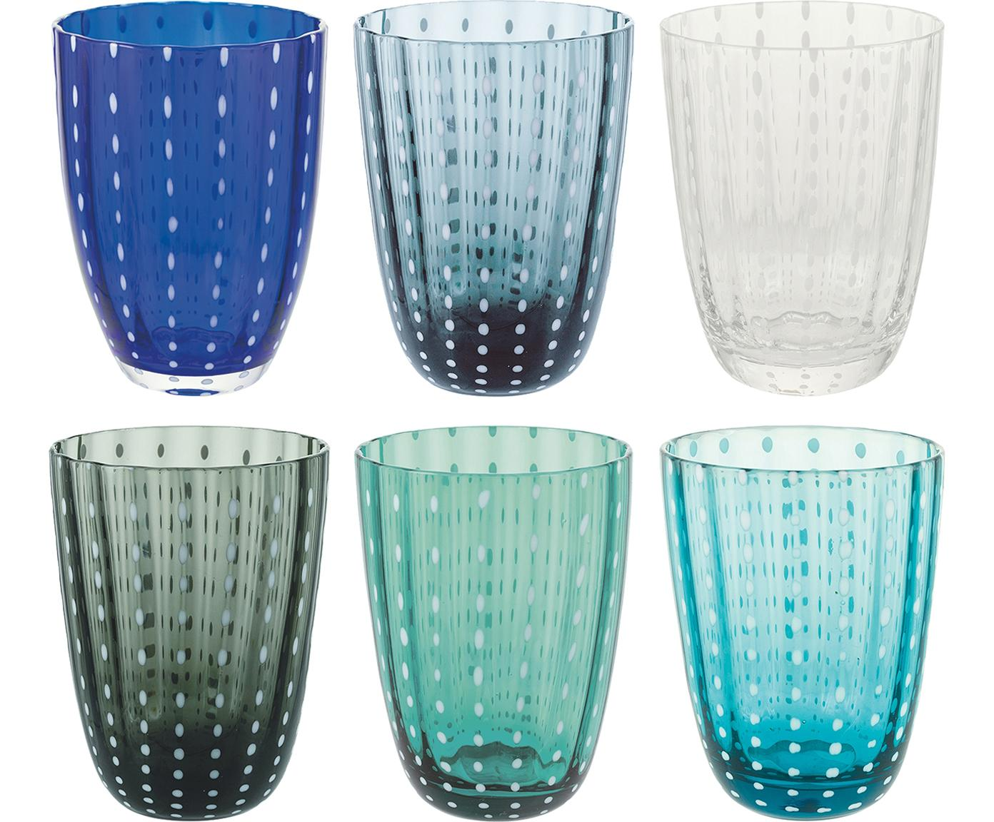 Komplet szklanek do wody Kalahari, 6 elem., Szkło, Wielobarwny, Ø 9 x W 11 cm