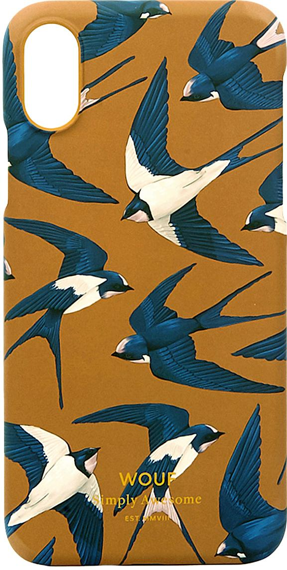 Hülle Swallow für iPhone X, Silikon, Orange, Blau, Beige, 7 x 15 cm
