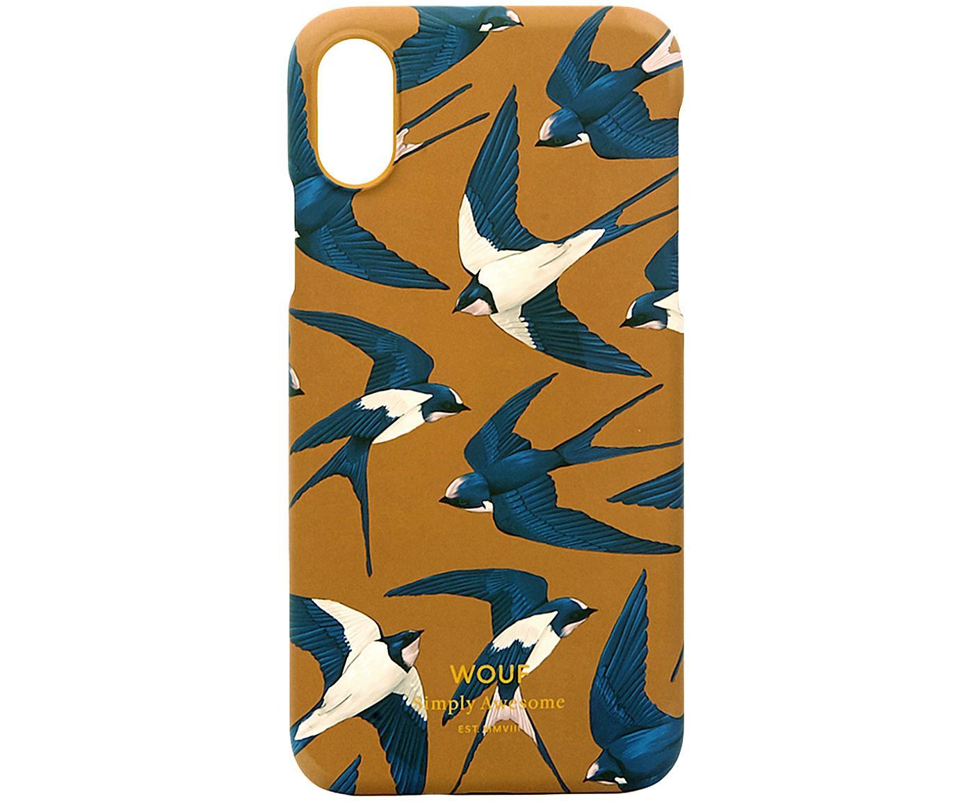 Telefoonhoesje Swallow voor iPhone X, Siliconen, Geel, blauw, beige, 7 x 15 cm