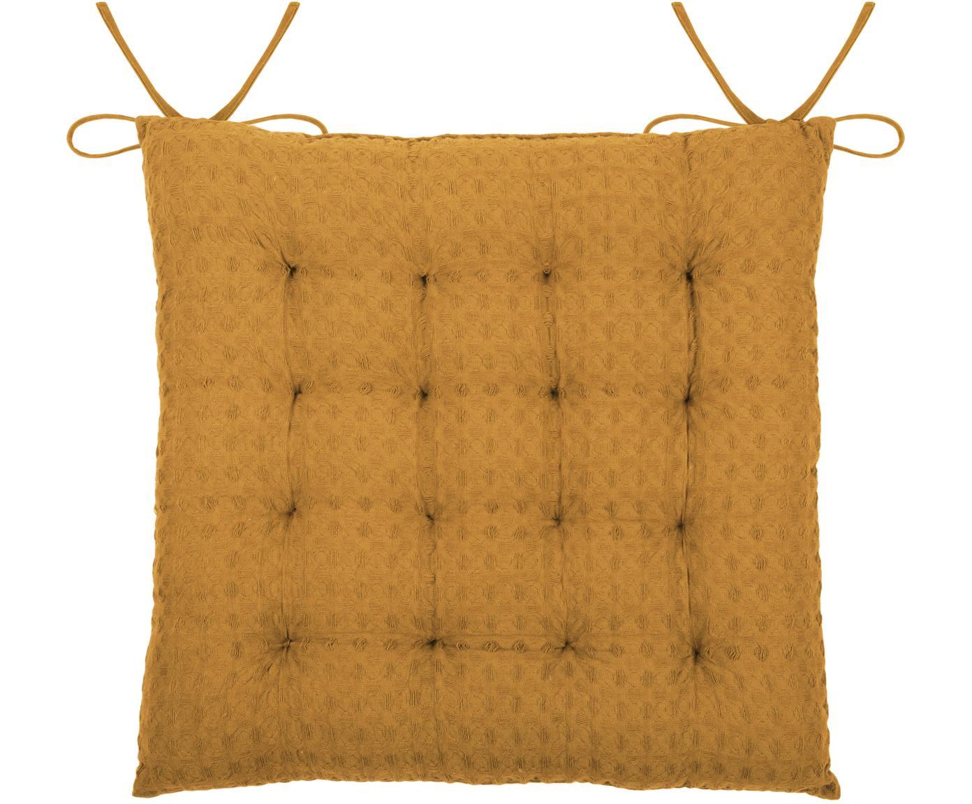 Waffelpiqué-Sitzkissen Gopher in Senfgelb, Bezug: 100% Baumwolle, Senfgelb, 40 x 40 cm