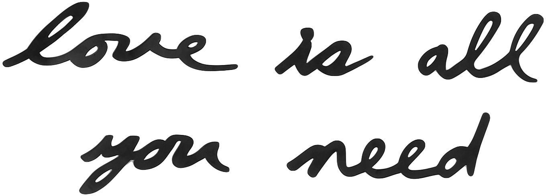 Wandschmuck-Set Mantra aus lackiertem Stahl, 10-tlg., Stahl, lackiert, Schwarz, Sondergrößen