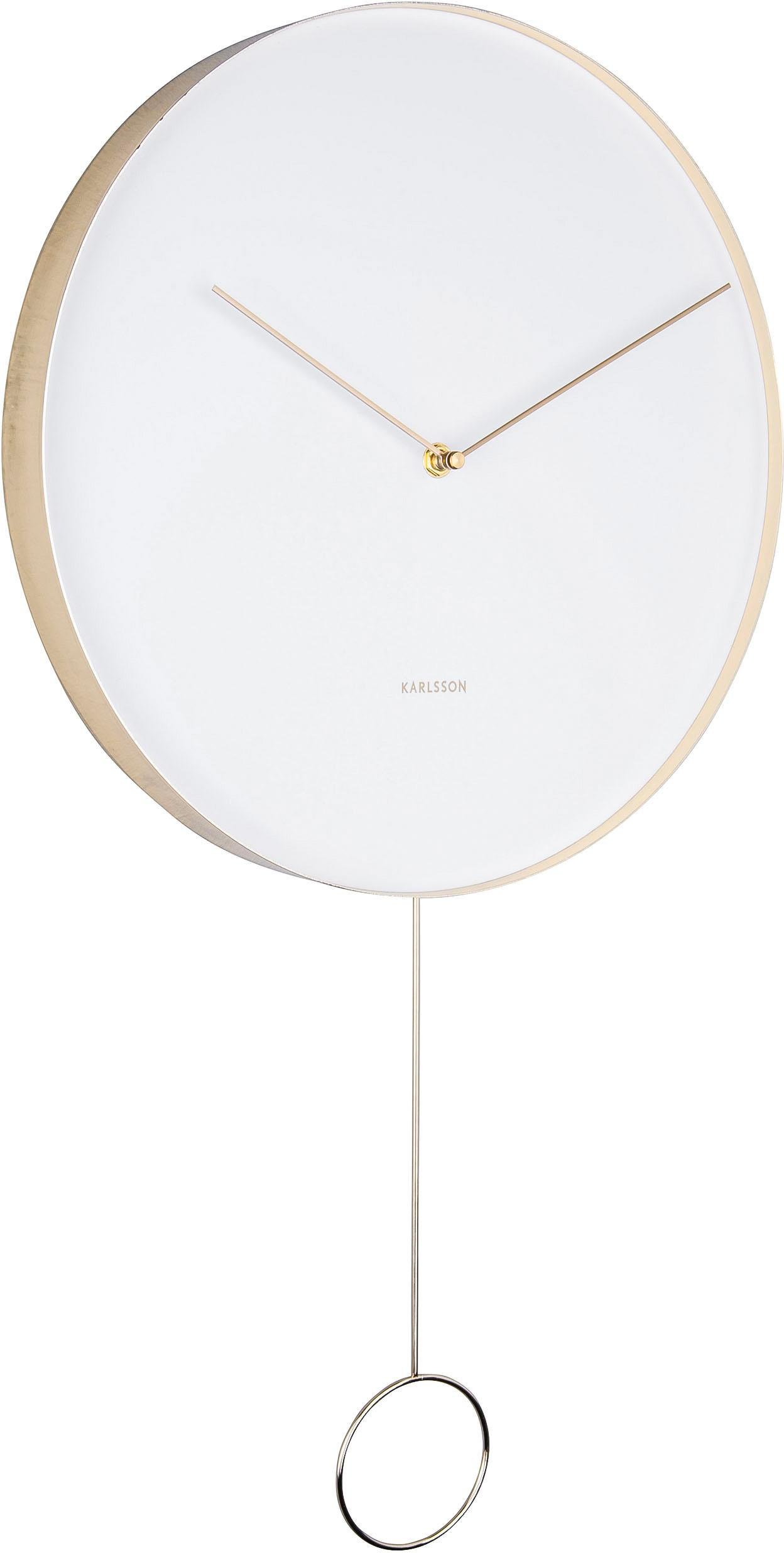 Wanduhr Pendulum, Metall, beschichtet, Weiß, Messingfarben, Ø 34 cm