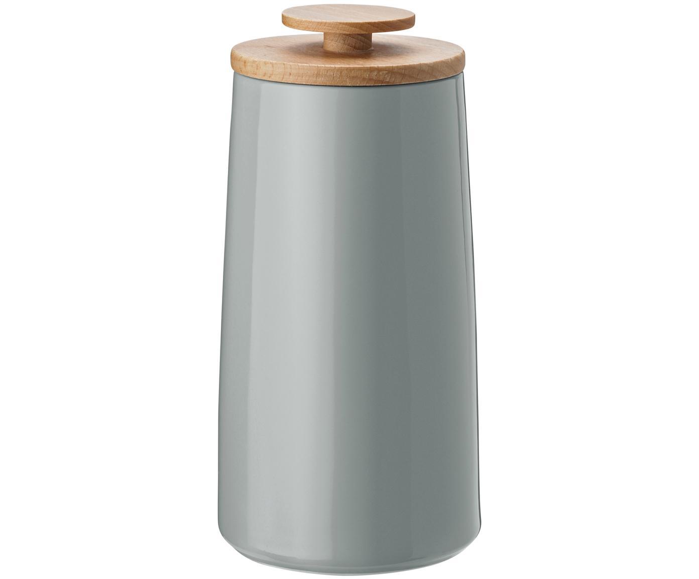 Opbergpot Emma, Deksel: beukenhout, Opbergpot: grijs. Deksel: beukenhoutkleurig, Inhoud: 300 g