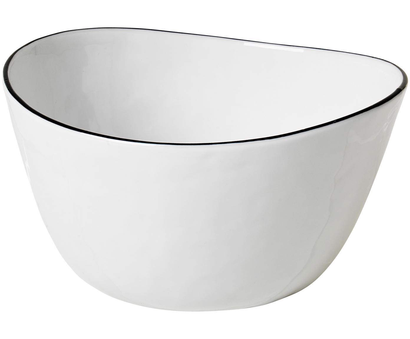 Handgemachte Schale Salt mit schwarzem Rand, Porzellan, Gebrochenes Weiß, Schwarz, B 20 x T 19 cm