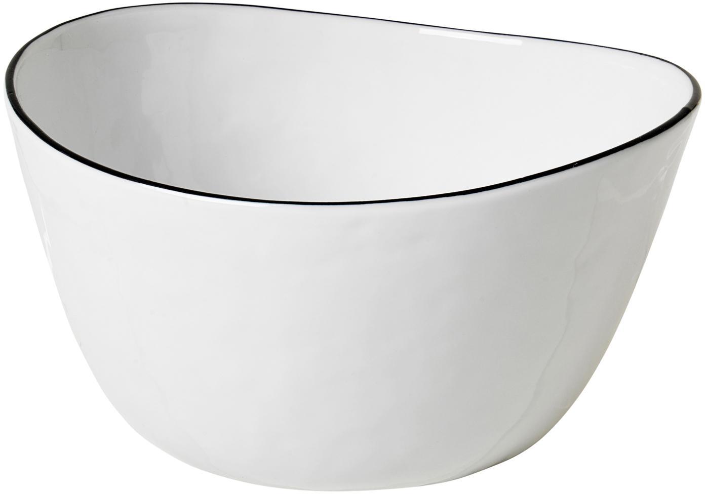 Handgemachte Schüssel Salt mit schwarzem Rand, Porzellan, Gebrochenes Weiss, Schwarz, B 20 x T 19 cm
