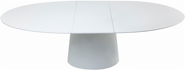 Ovaler ausziehbarer Esstisch Benvenuto in Weiss, Mitteldichte Holzfaserplatte (MDF), lackiert, Weiss, B 200 bis 250 x T 110 cm
