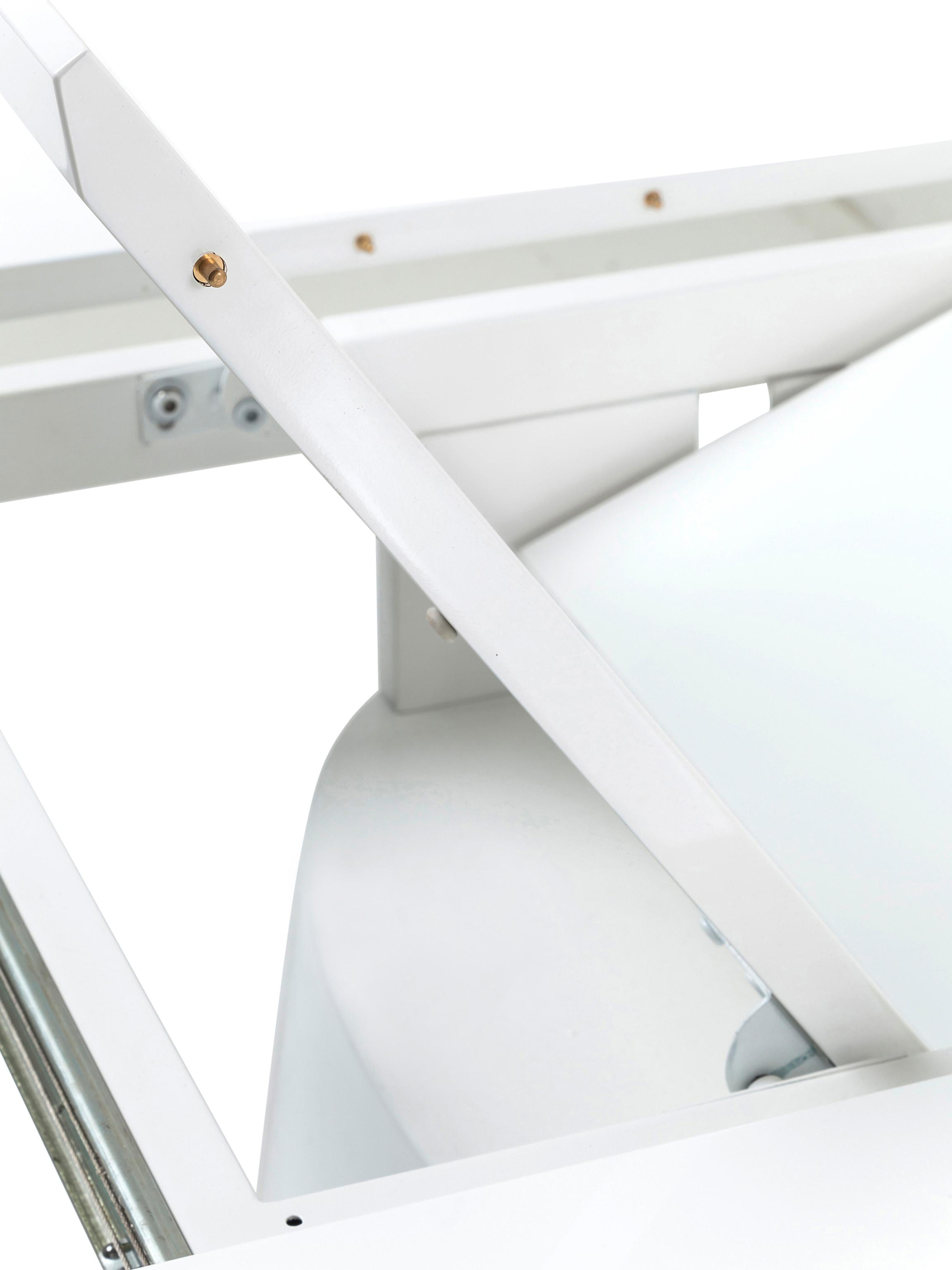 Ovaler ausziehbarer Esstisch Benvenuto in Weiß, Mitteldichte Holzfaserplatte (MDF), lackiert, Weiß, B 200 bis 250 x T 110 cm