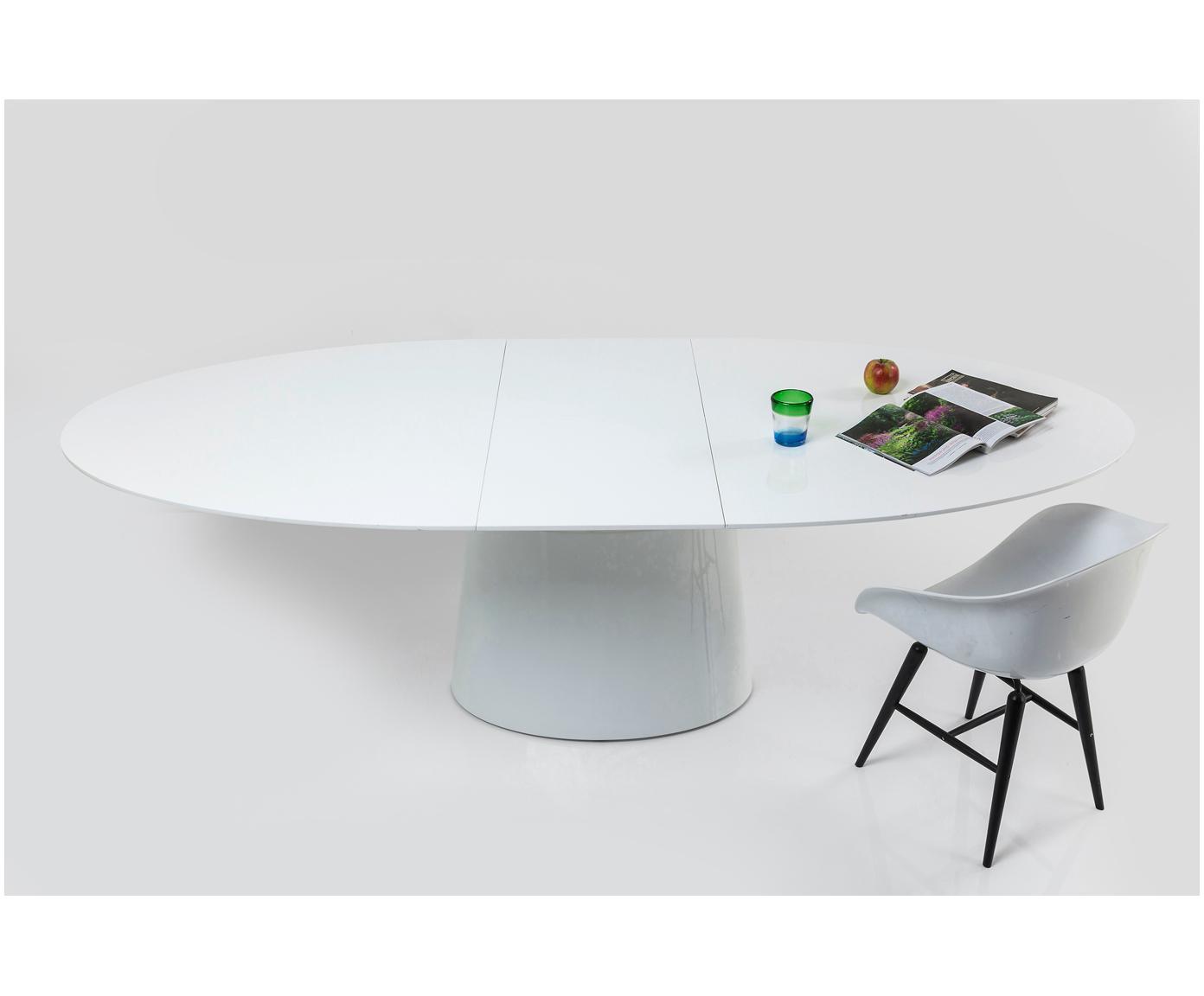 Owalny stół rozkładany do jadalni Benvenuto, Lakierowana płyta pilśniowa średniej gęstości(MDF), Biały, S 200 - 250 x G 110 cm
