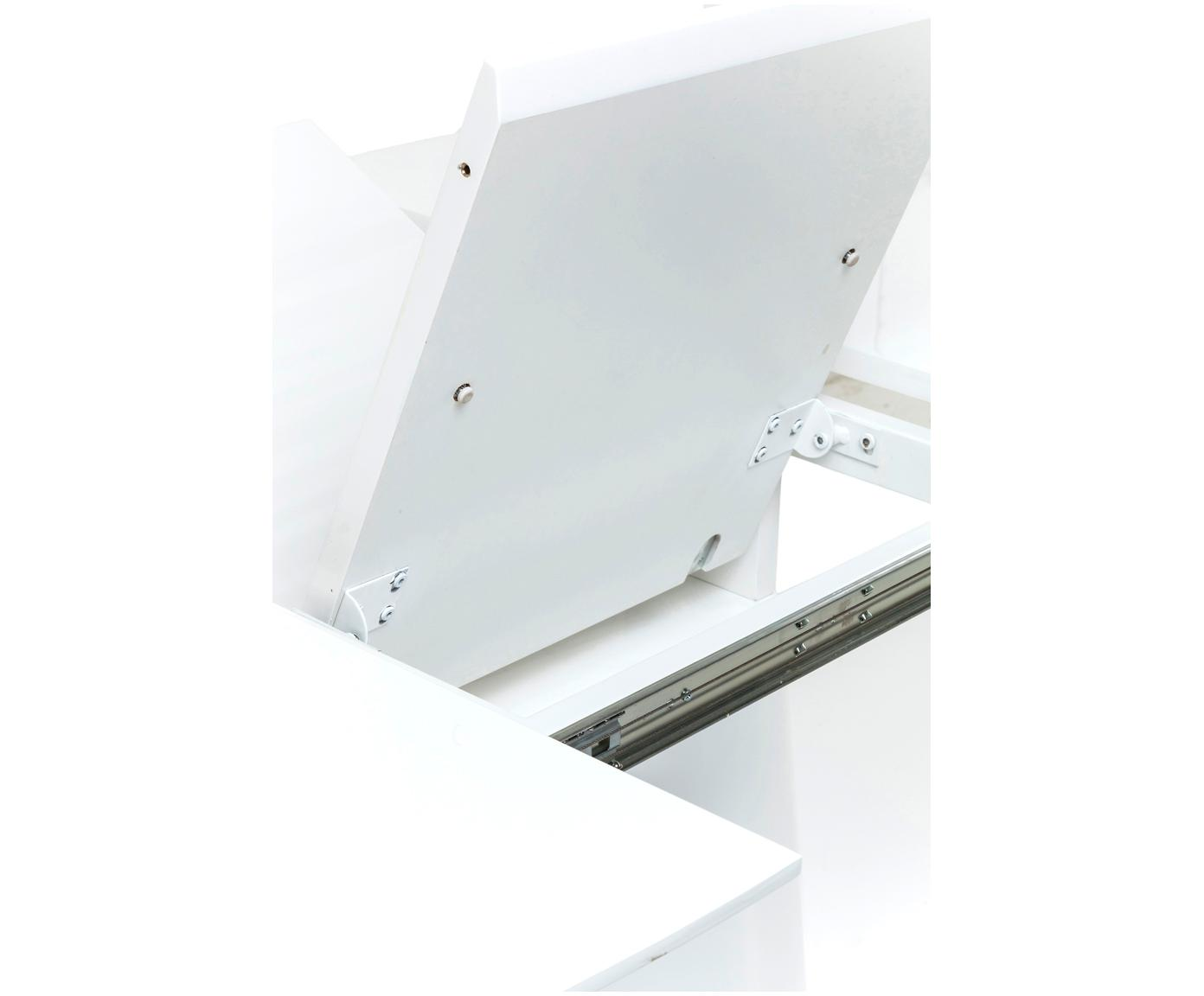 Tavolo ovale allungabile Benvenuto, Pannello di fibra a media densità (MDF) verniciato, Bianco, Larg. 200 a 250 x Prof. 110 cm