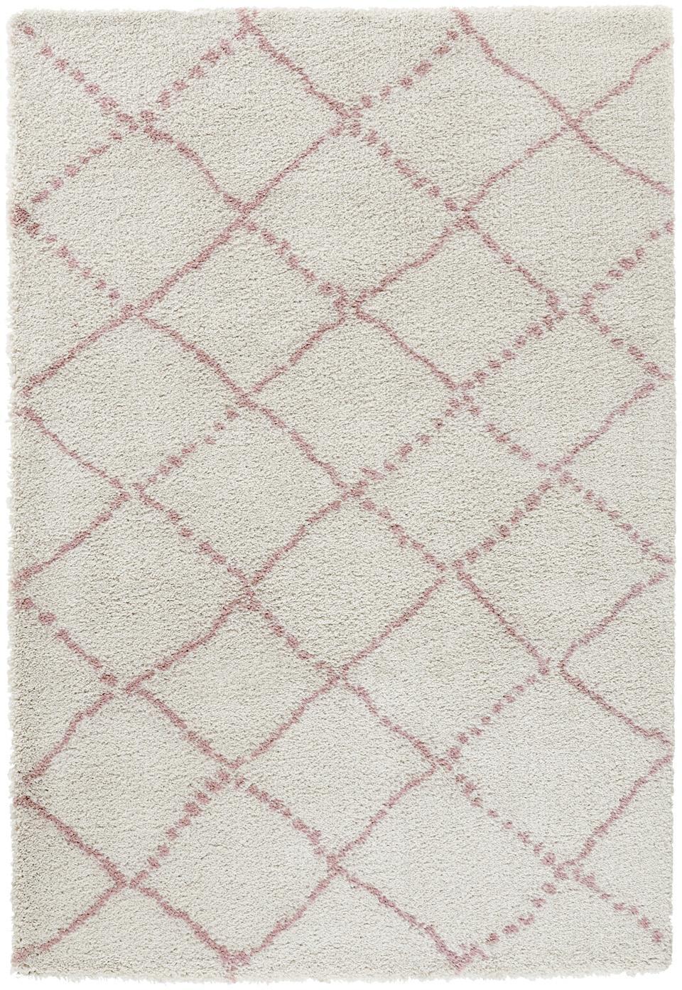 Flauschiger Hochflor-Teppich Hash in Rosa/Creme, Flor: 100% Polypropylen, Cremefarben, Rosa, B 120 x L 170 cm (Grösse S)