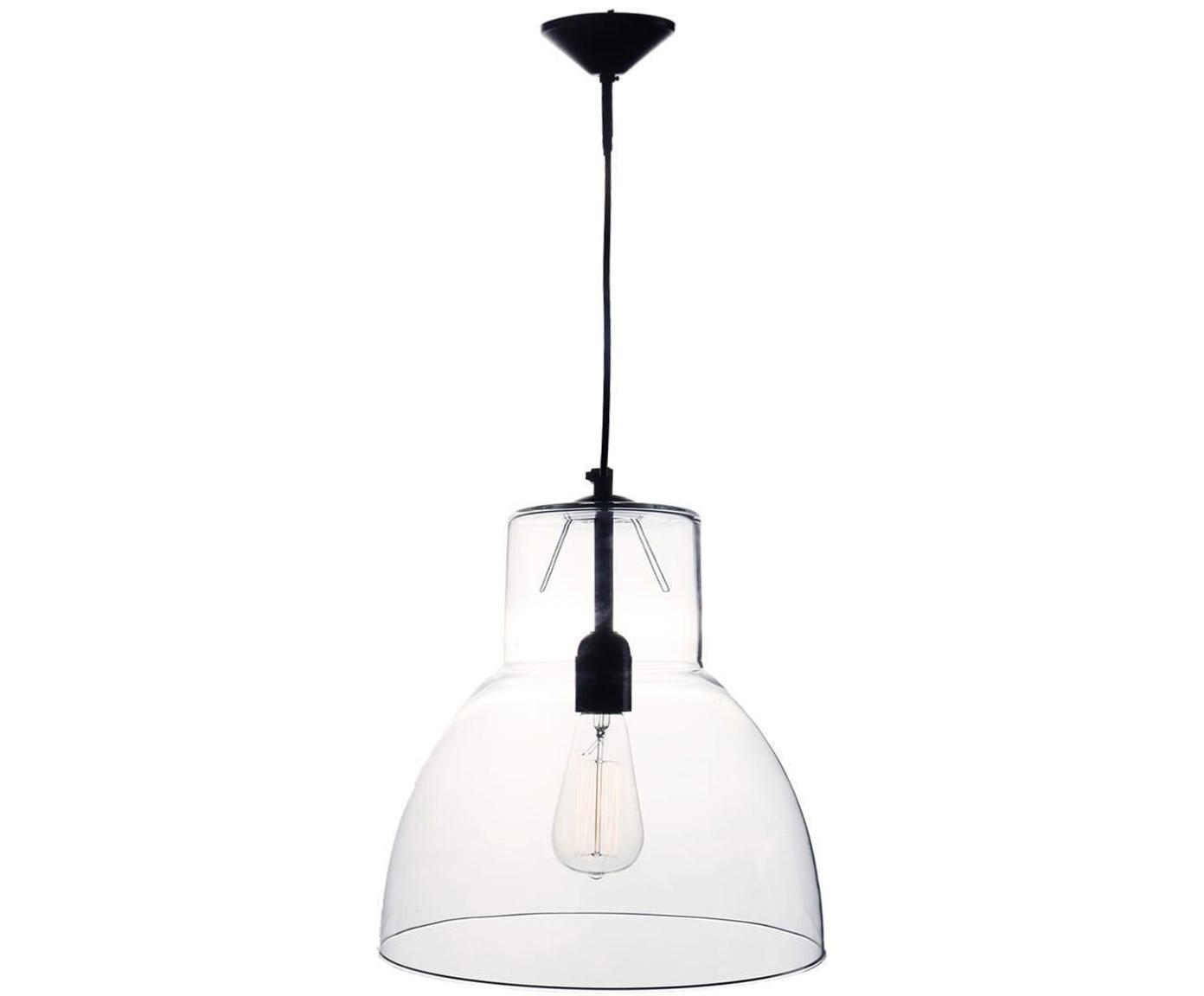 Lámpara de techo Winston, Pantalla: vidrio, Transparente, negro, Ø 30 x Al 35 cm