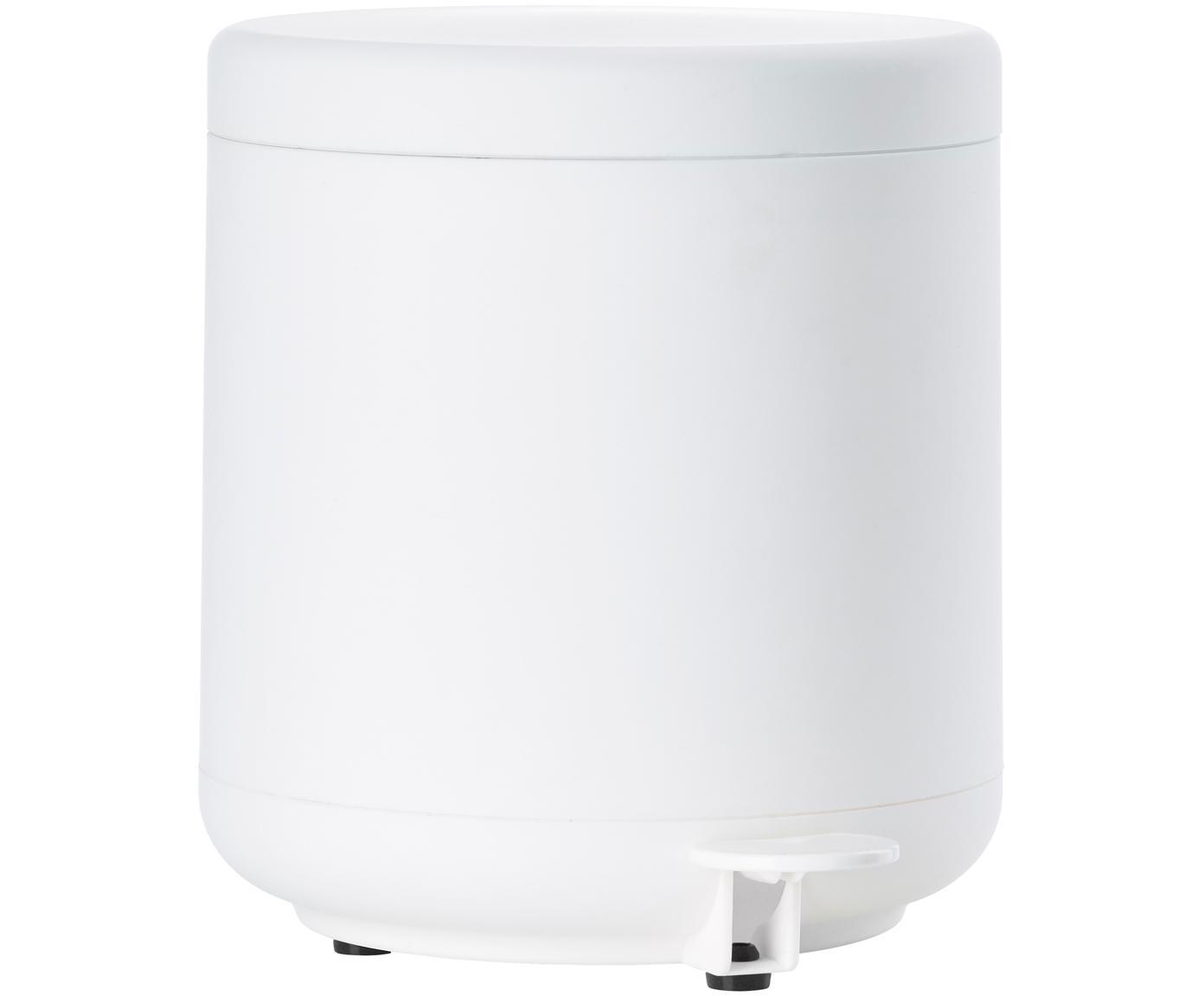 Pattumiera con funzione pedale Omega, Materiale sintetico ABS, Bianco opaco, Ø 20 x Alt. 22 cm