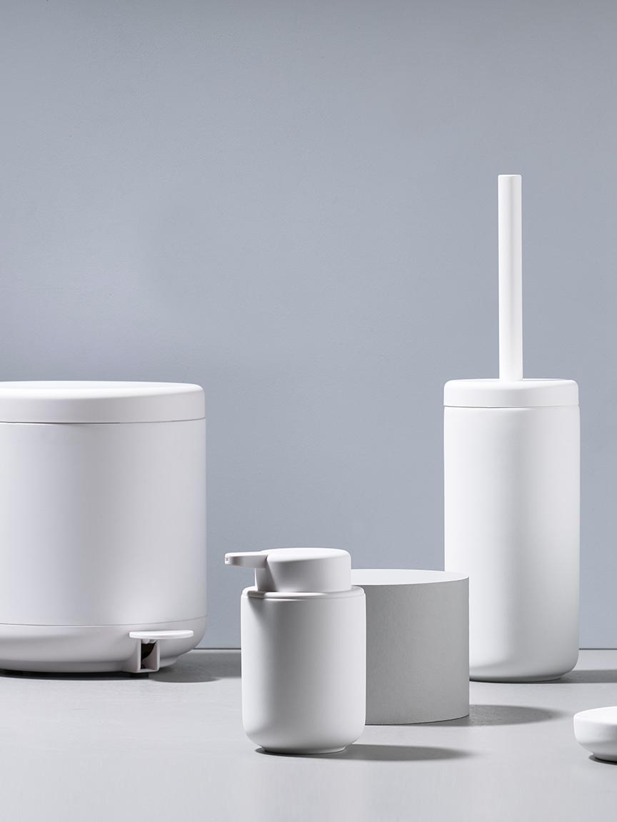 Abfalleimer Ume mit Pedal-Funktion, Kunststoff (ABS), Weiß, matt, Ø 20 x H 22 cm